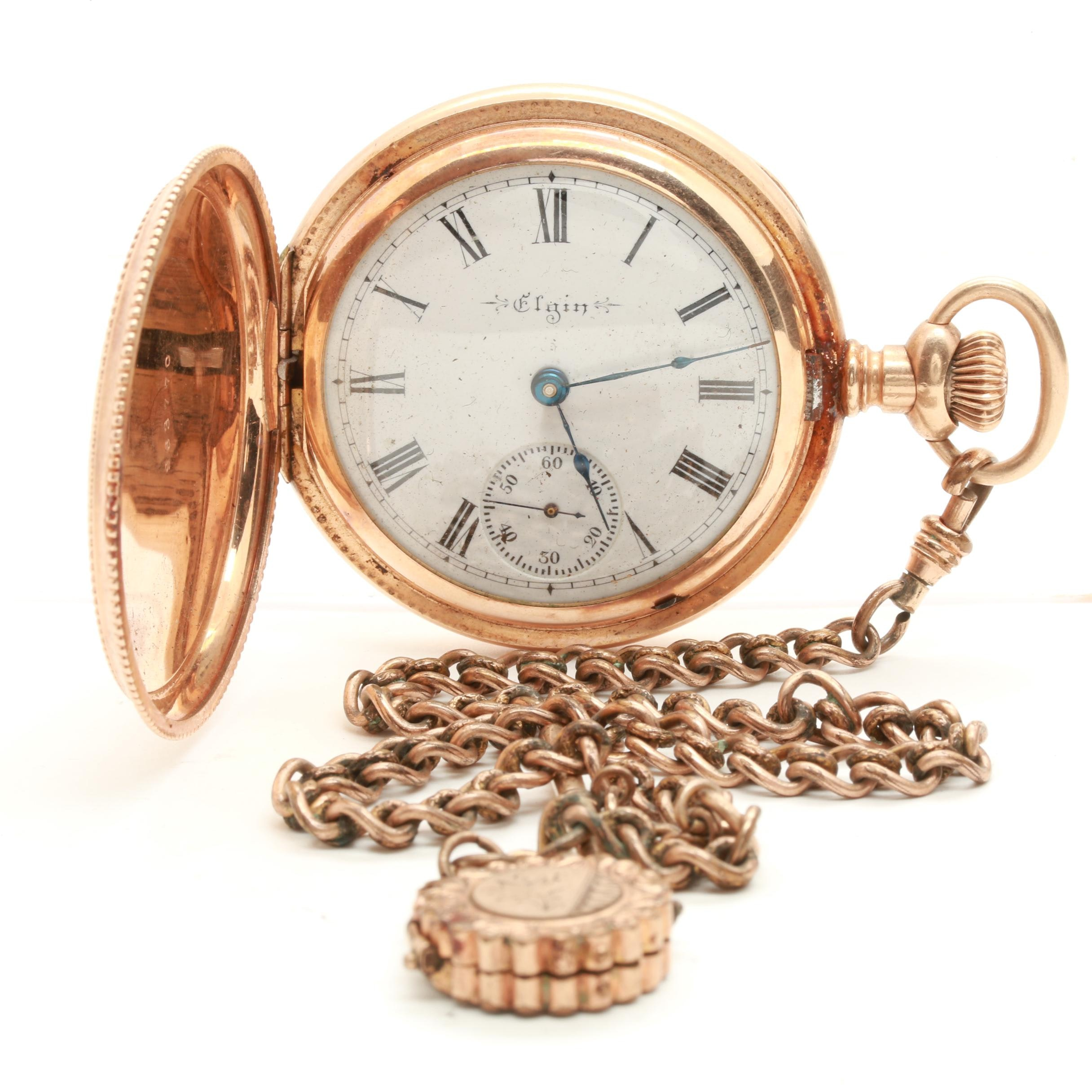 Elgin Gold Filled Hunting Case Pocket Watch with Gold Filled Fob