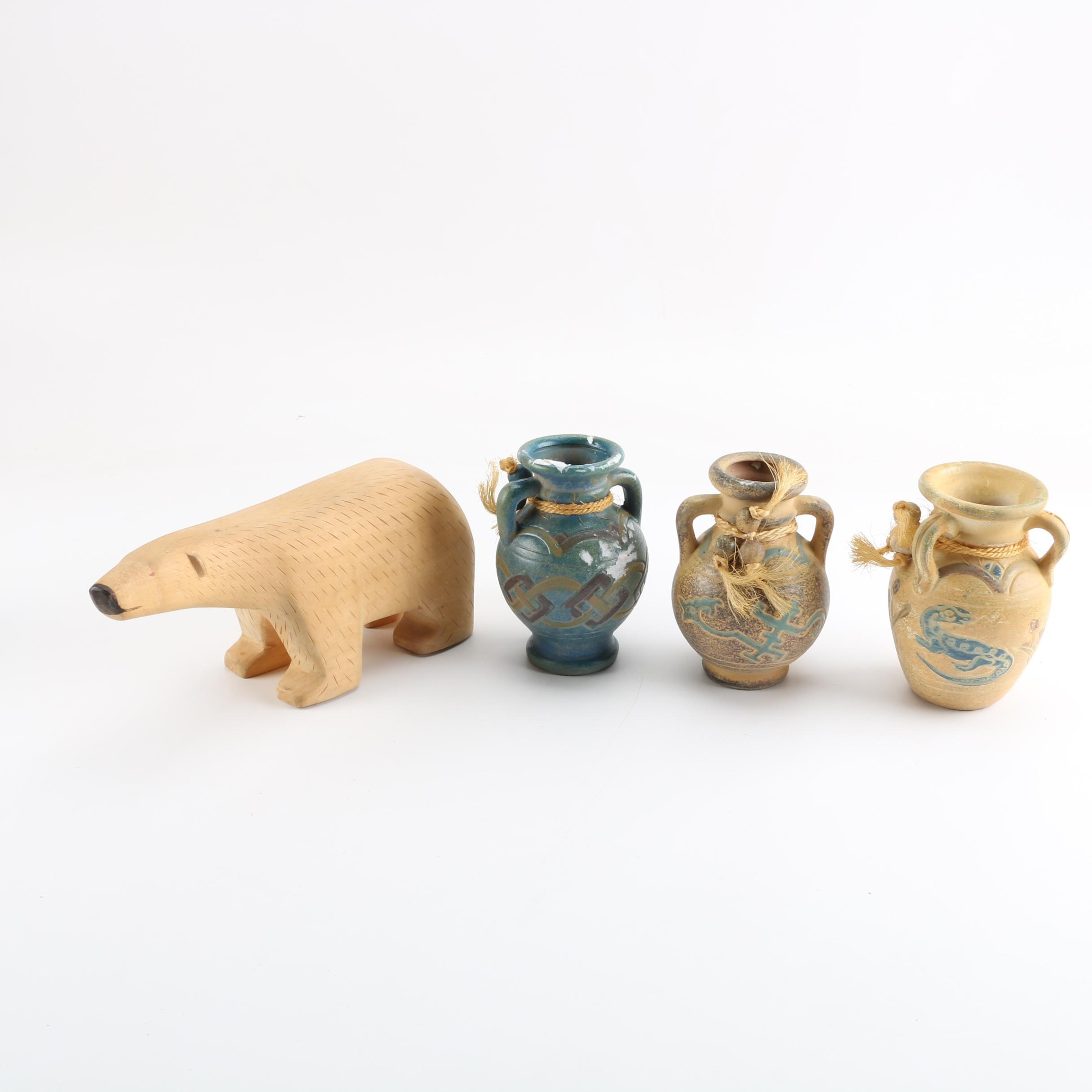 Southwestern-Style Miniature Pottery Vases with Carved Wood Polar Bear Figurine