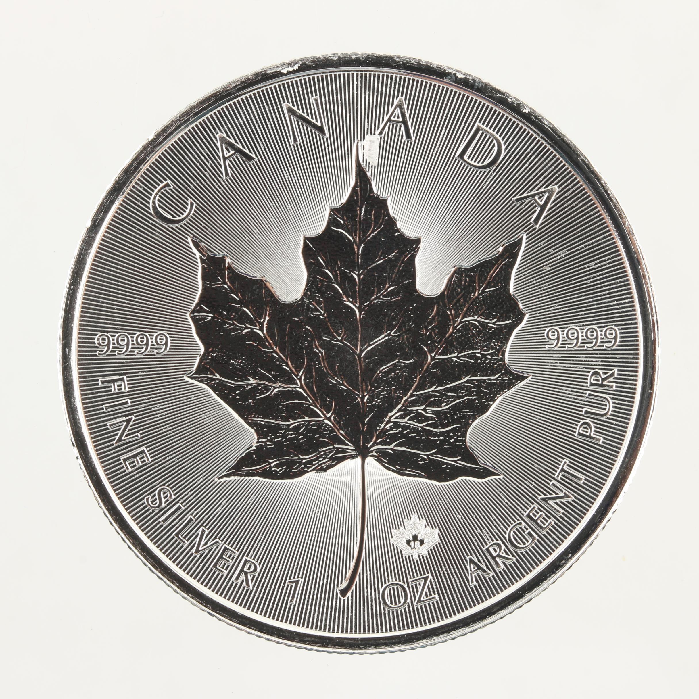2018 Canadian Five Dollar Maple Leaf One Troy Ounce Silver Bullion Coin