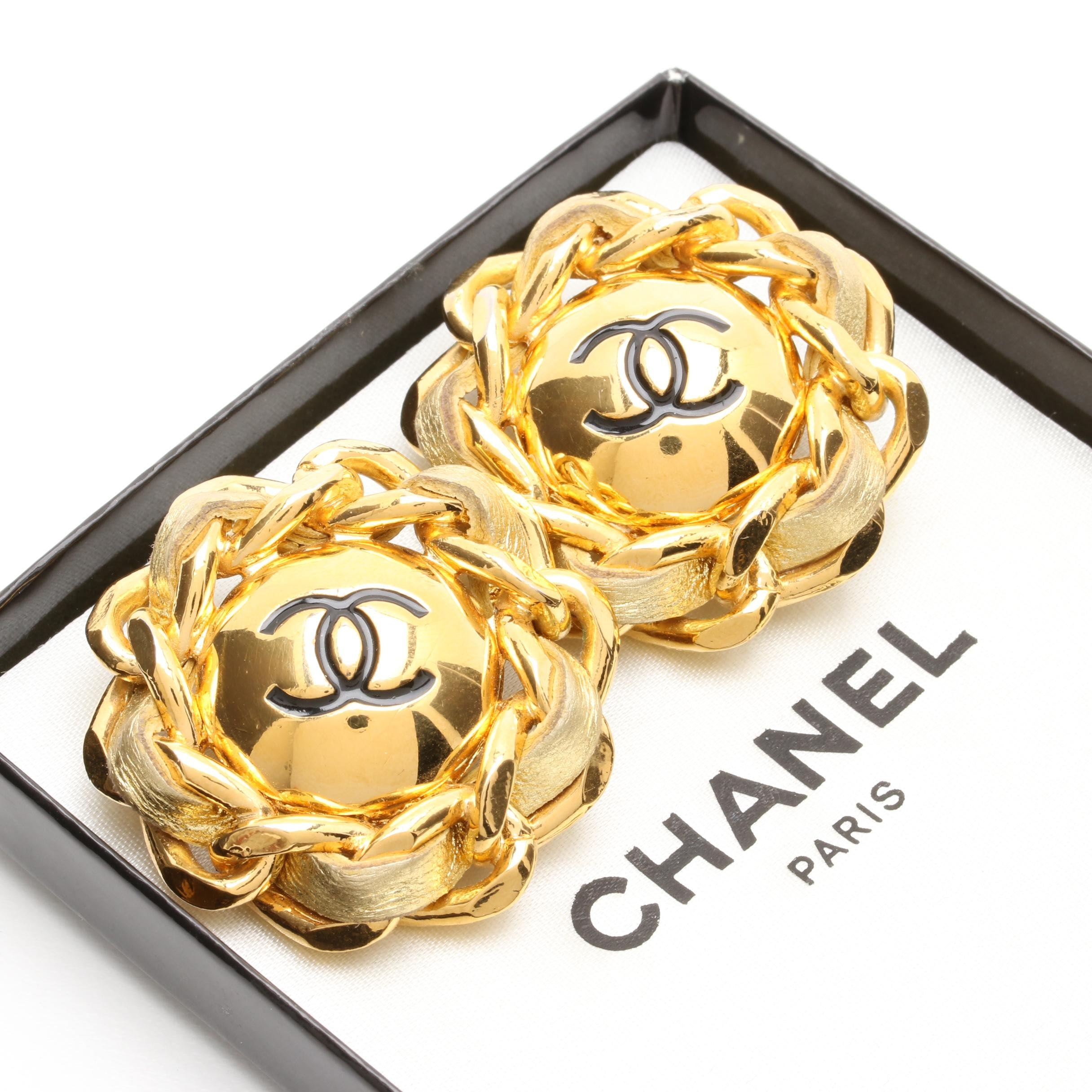 Vintage Chanel Leather Weave Earrings