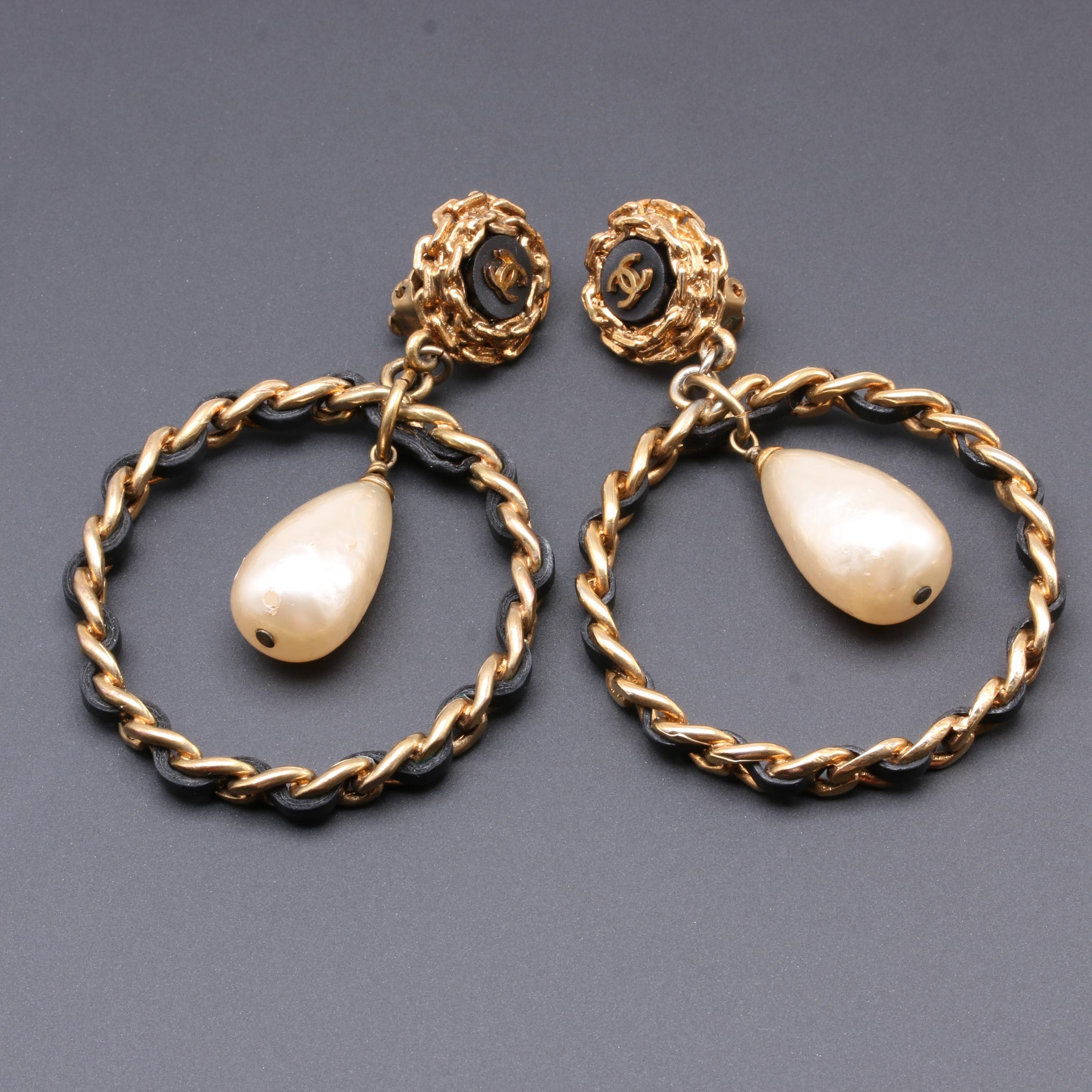 Vintage Chanel Gold Tone Leather Weave Imitation Pearl Hoop Earrings