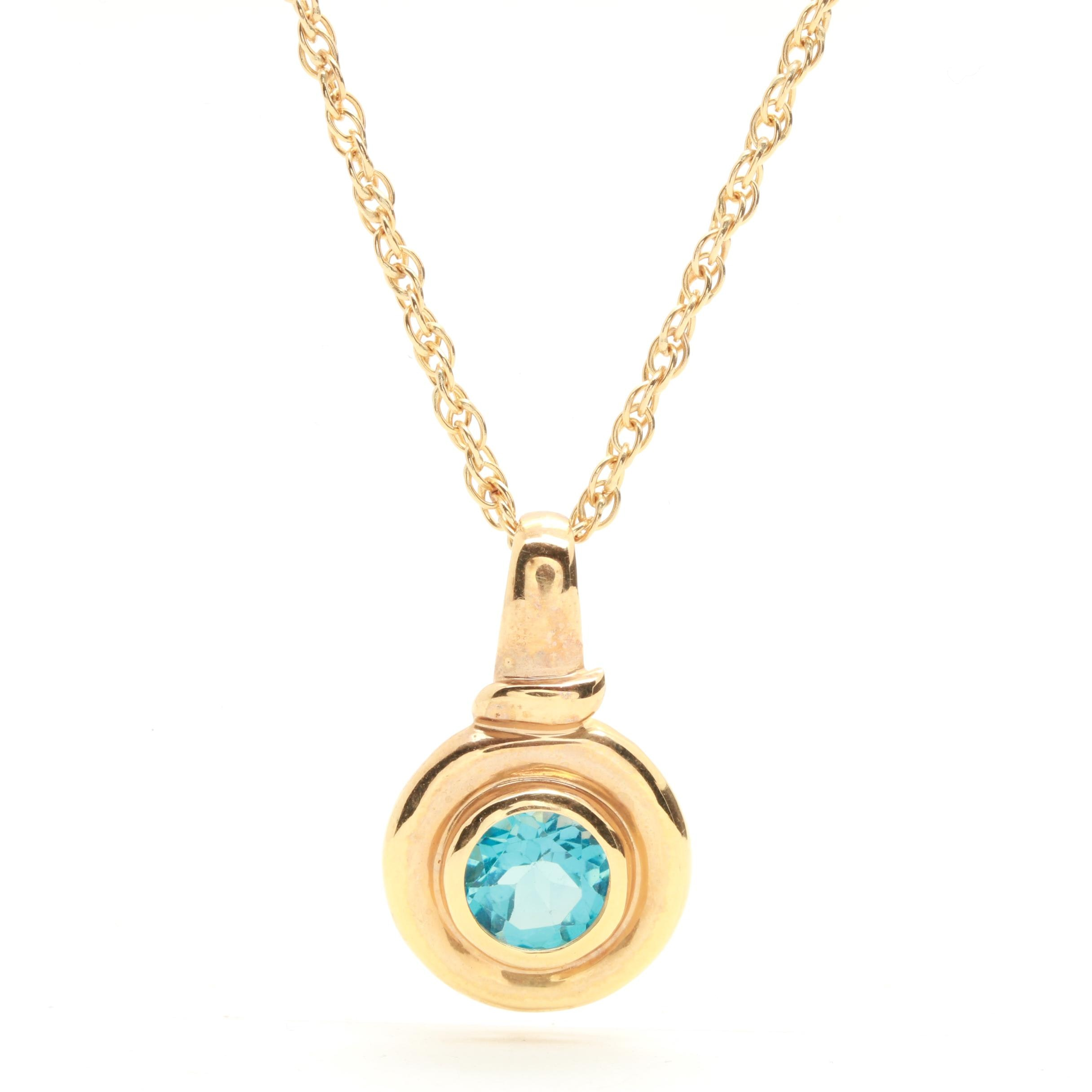 14K Yellow Gold 1.90 CT Blue Topaz Necklace
