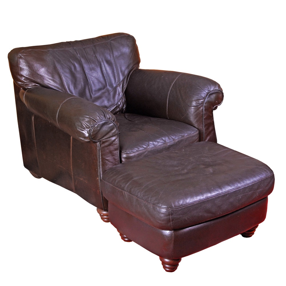 Brown Leather Armchair with Ottoman