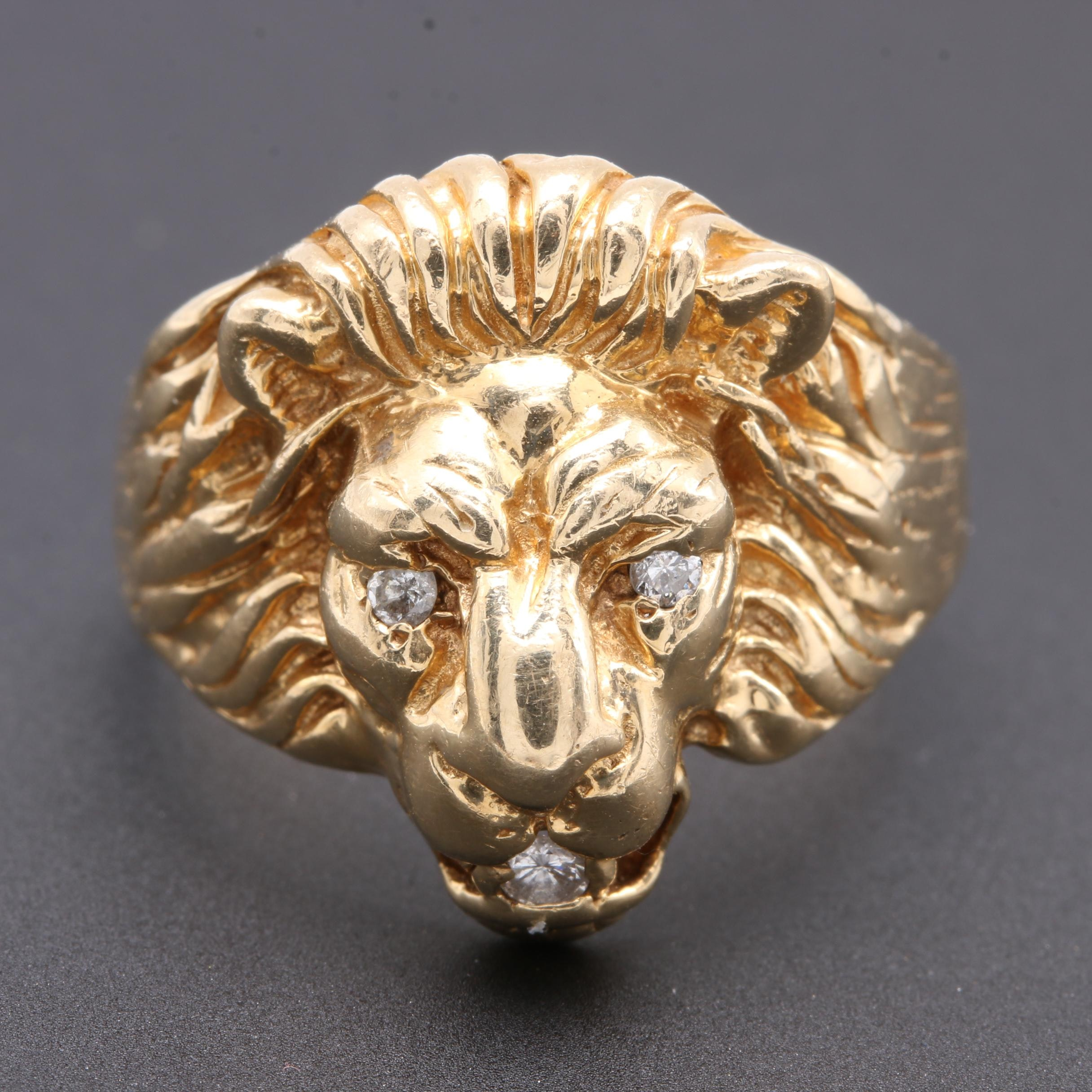 14K Yellow Gold Diamond Lion Ring