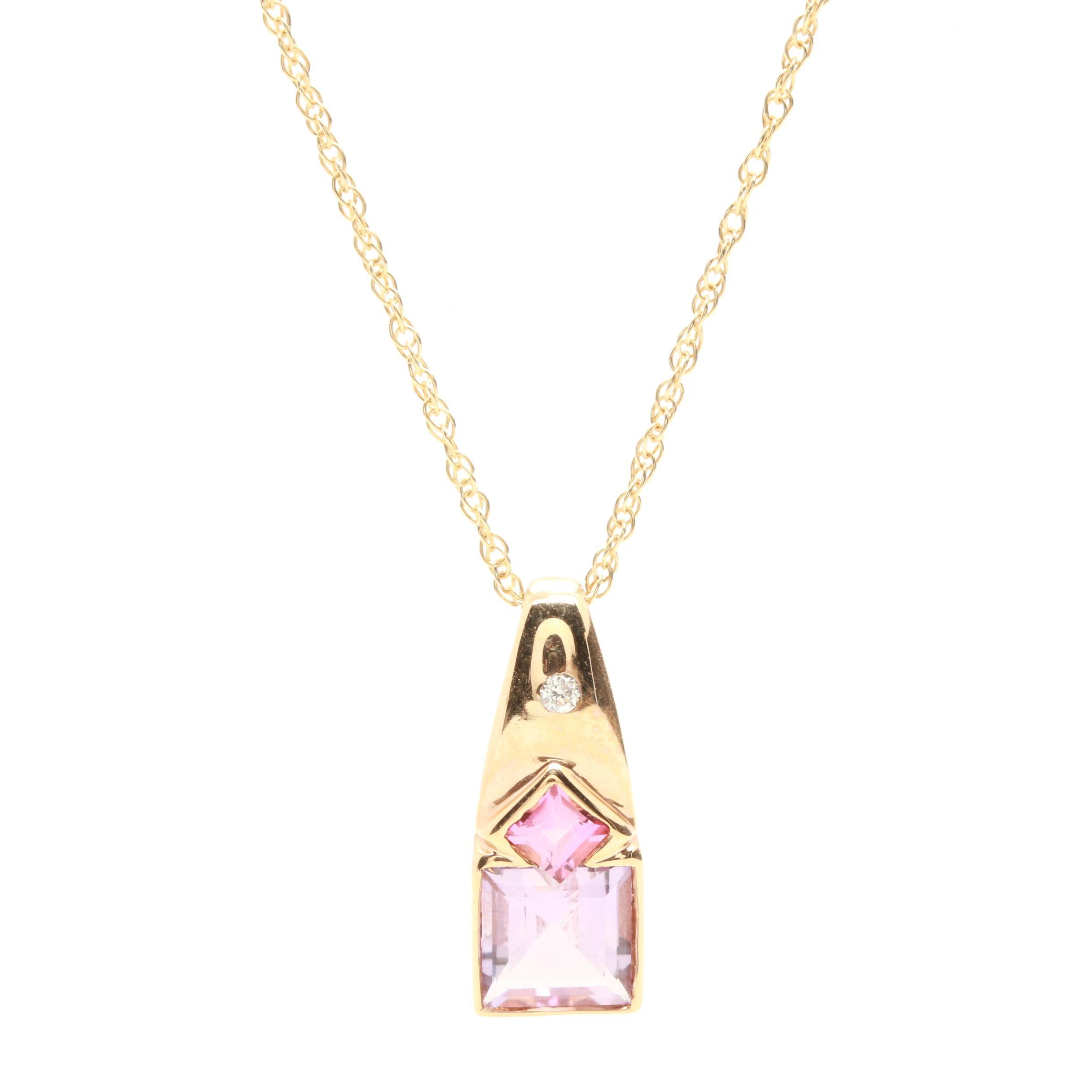 14K Yellow Gold Amethyst, Tourmaline and Diamond Necklace