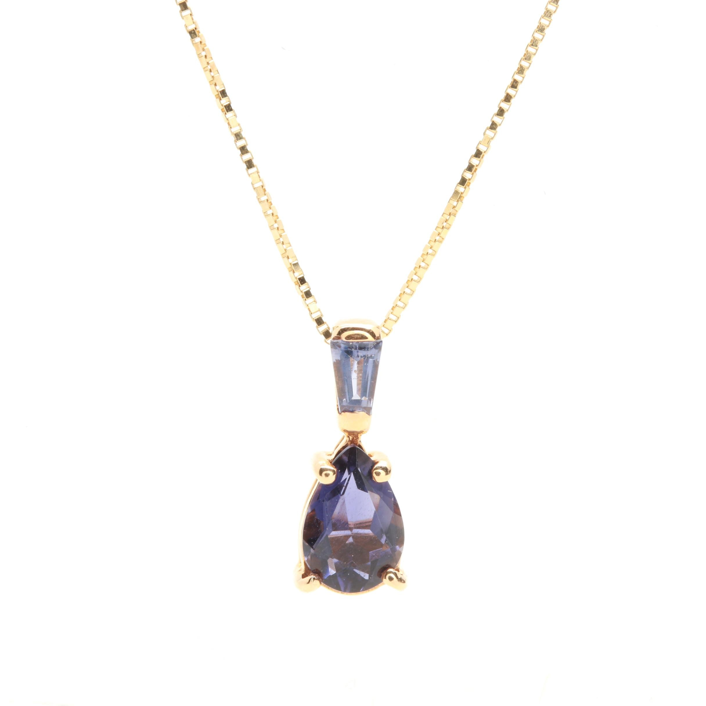 14K Yellow Gold Iolite Necklace