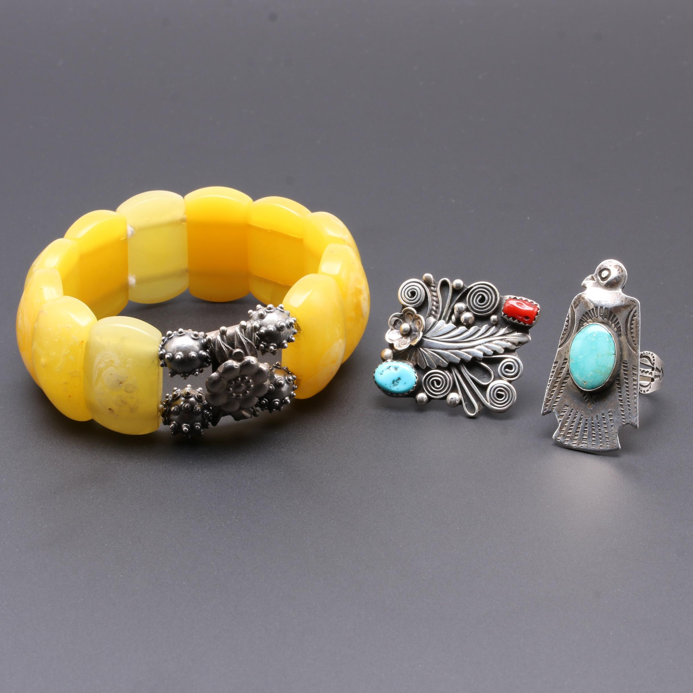 Sterling Silver Gemstone Ring and Belt Buckle with Costume Bracelet