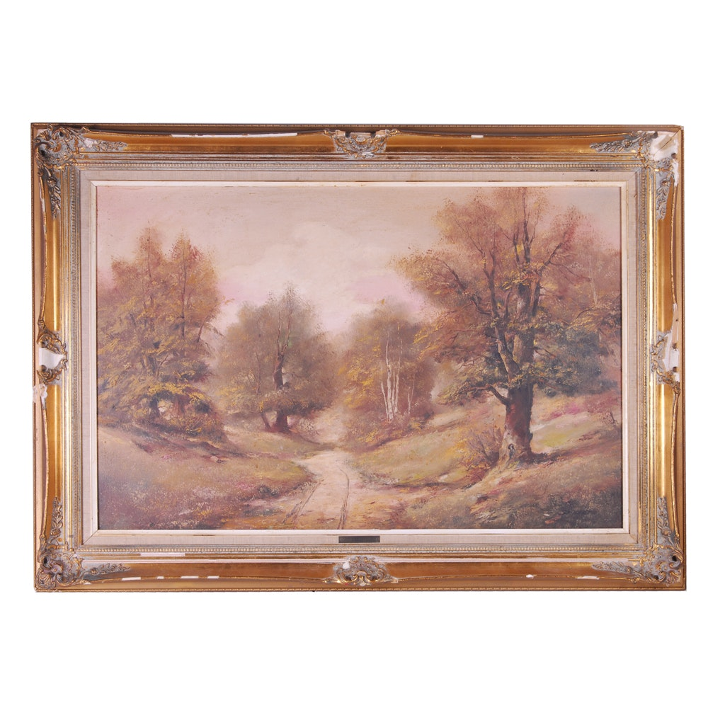 Attributed to Fritz Seibert Landscape Oil Painting
