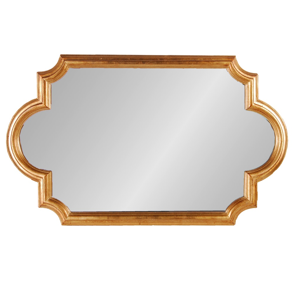 Scalloped and Notched Gilt Framed Wall Mirror