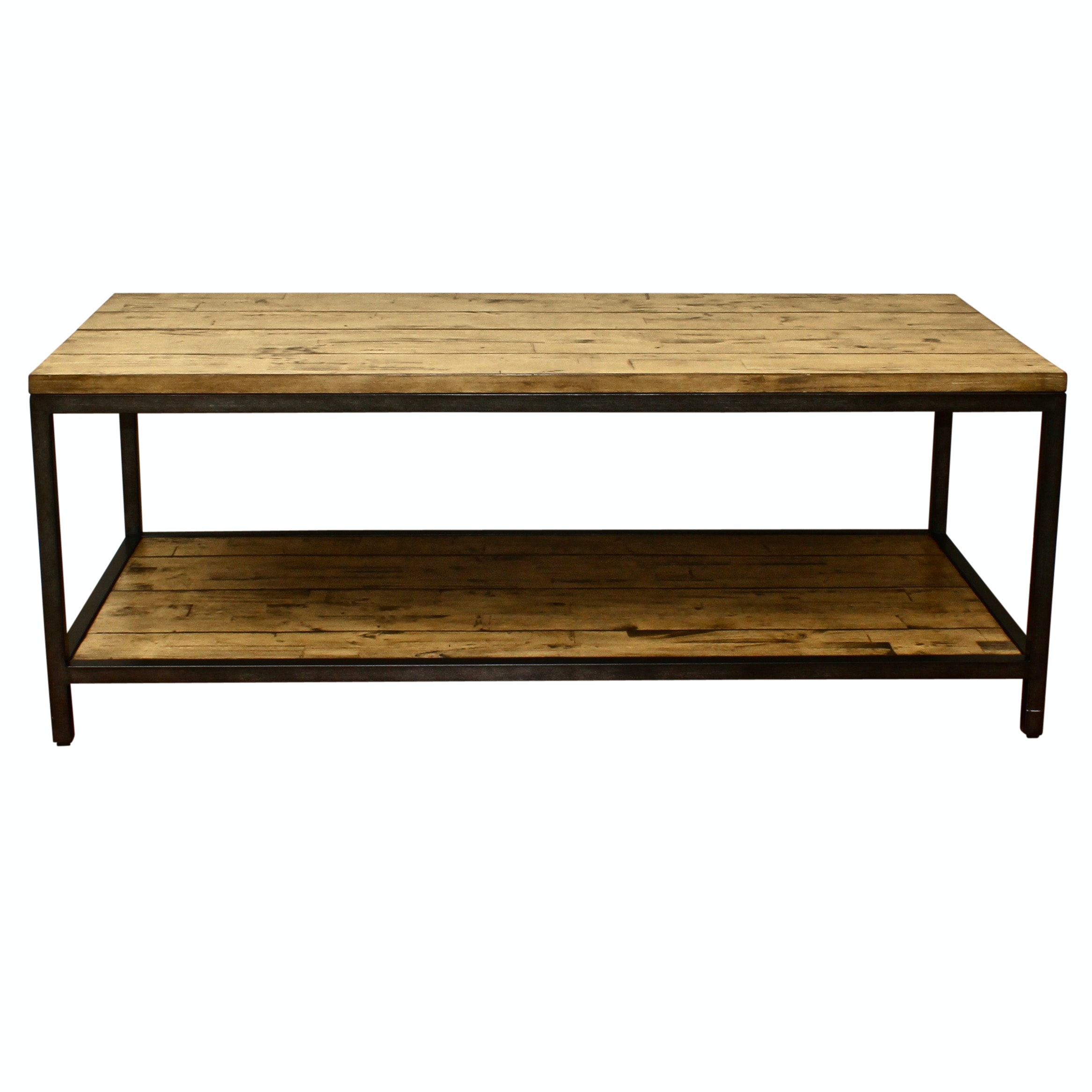 Distressed Wooden and Metal Ballard Designs Coffee Table