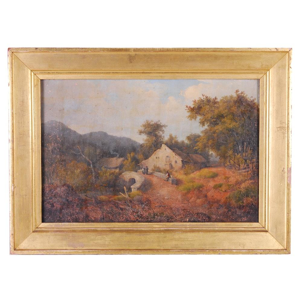 Antique European Landscape Oil Painting