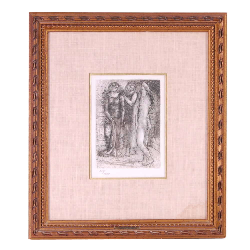 """After Pablo Picasso Restrike Drypoint Etching """"The Three Graces"""""""