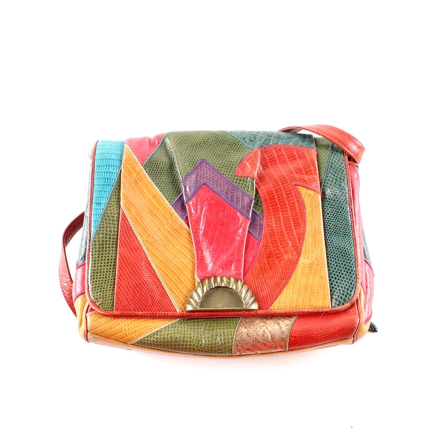 da76738fa433 Sharif Patchwork Lizard Embossed Leather Crossbody Bag   EBTH
