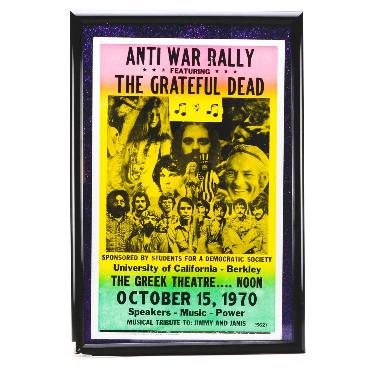 1970 Grateful Dead Anti-War Concert Poster