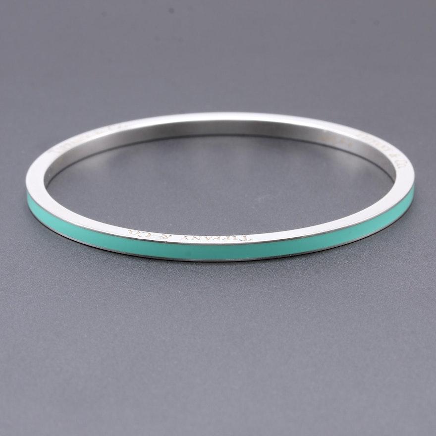 Tiffany Co Sterling Silver And Enamel Bangle Bracelet