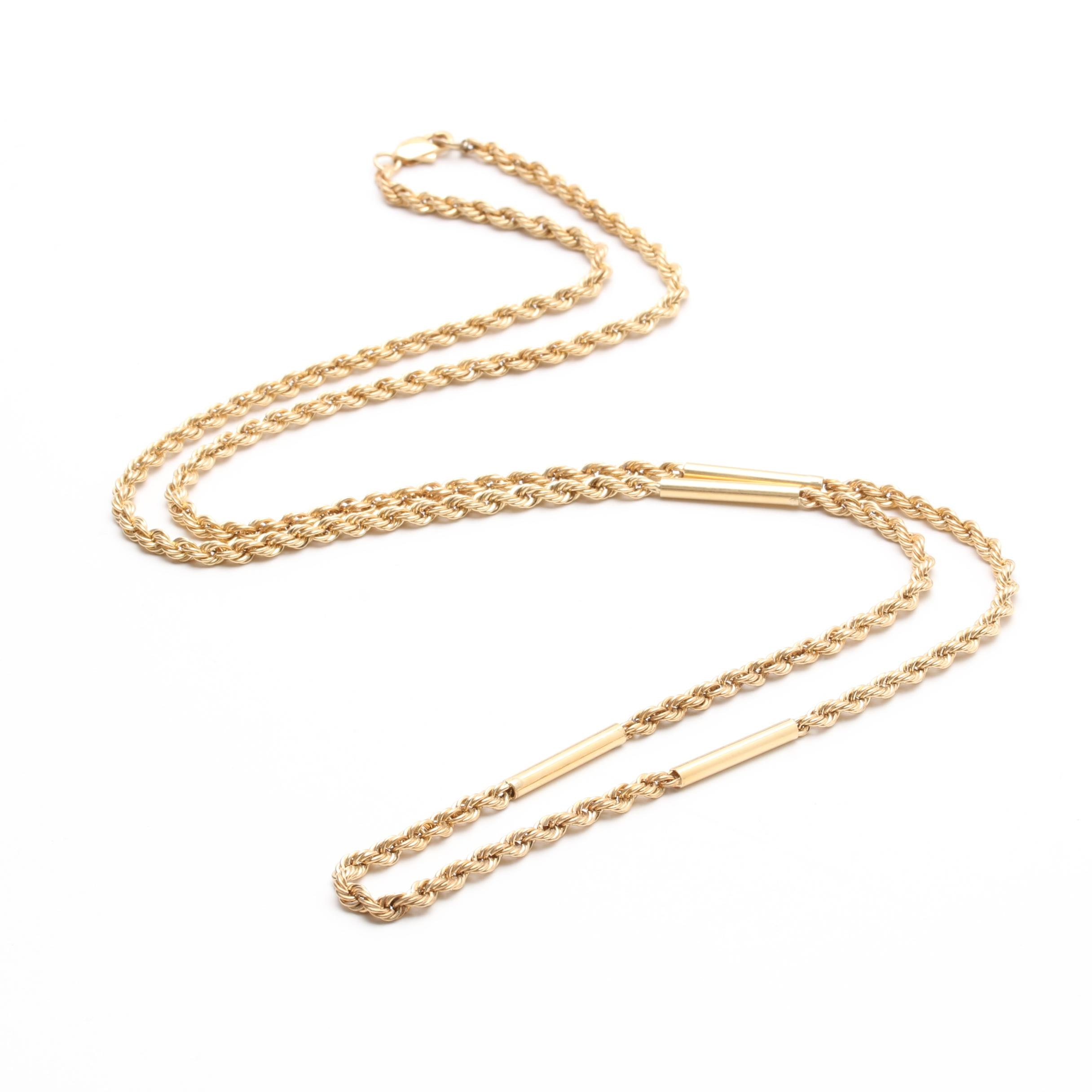 14K Yellow Gold Custom Link Rope Chain Necklace