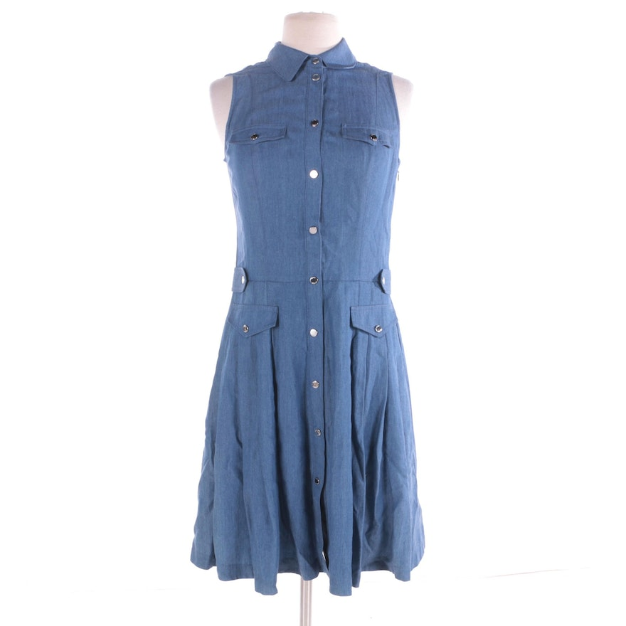 ef4a328dbf195 Karen Millen Sleeveless Chambray Denim Fit   Flare Dress   EBTH