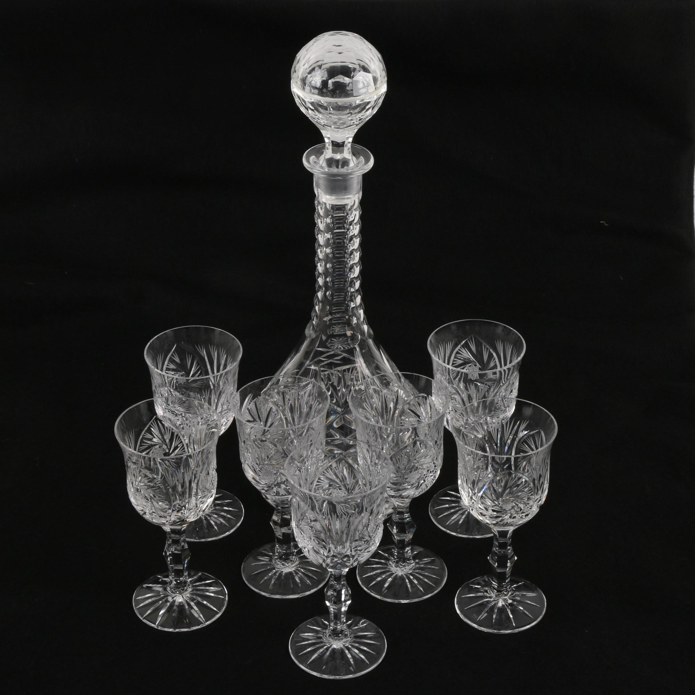 Buzz Starr Motif Crystal Decanter with Cordial Glasses