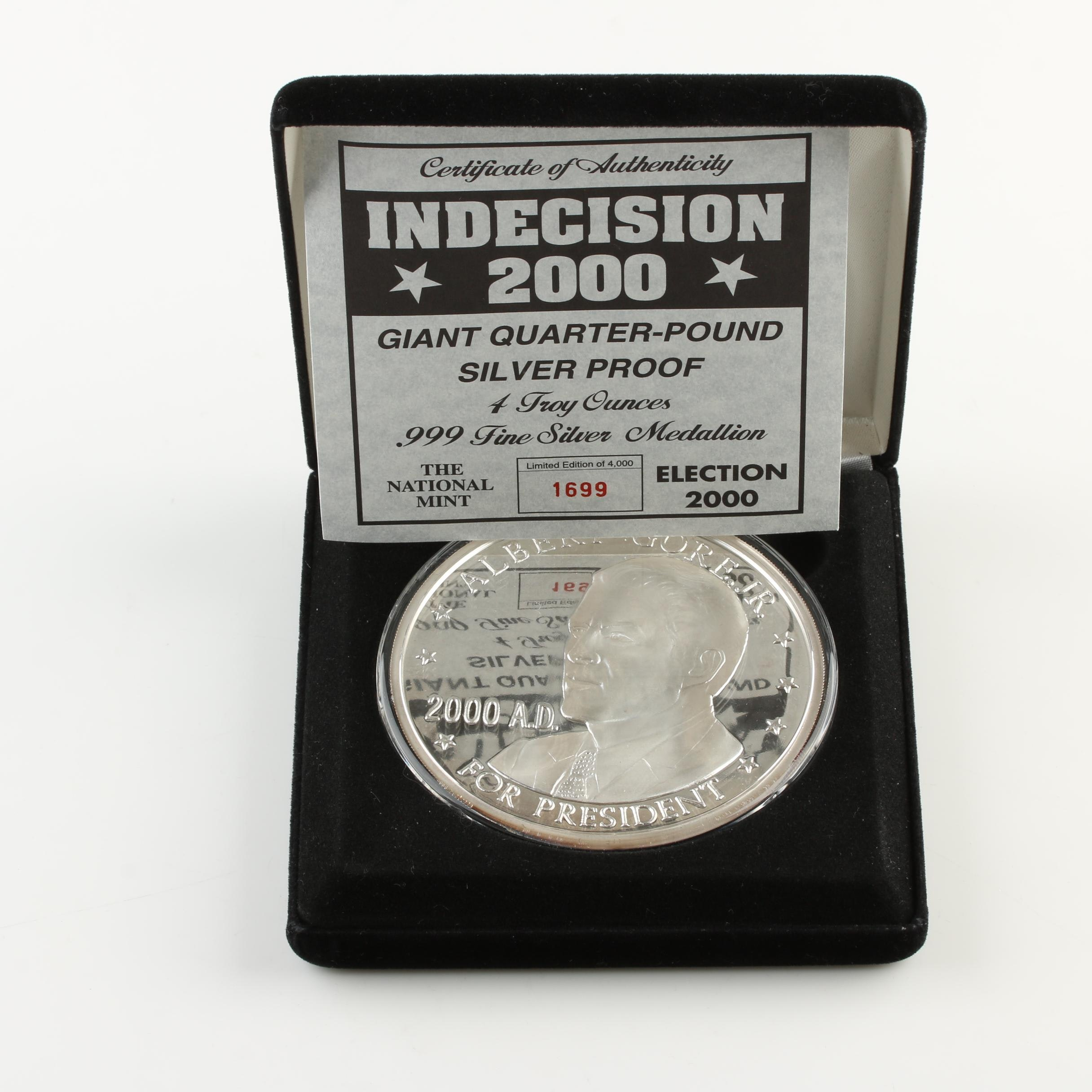 2000 Presidential Election Quarter-Pound Silver Proof Medallion
