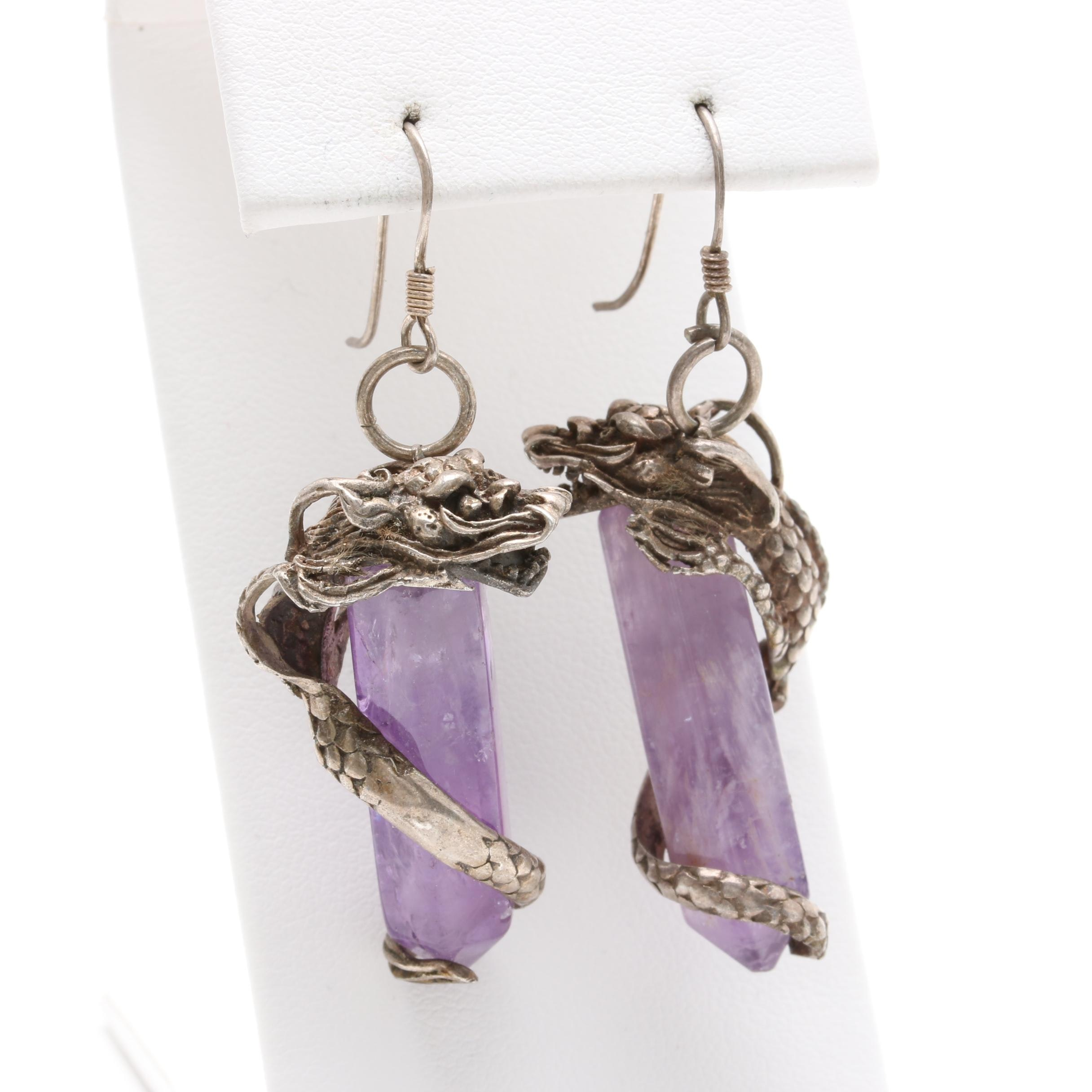 Sterling Silver Amethyst Dragon Earrings