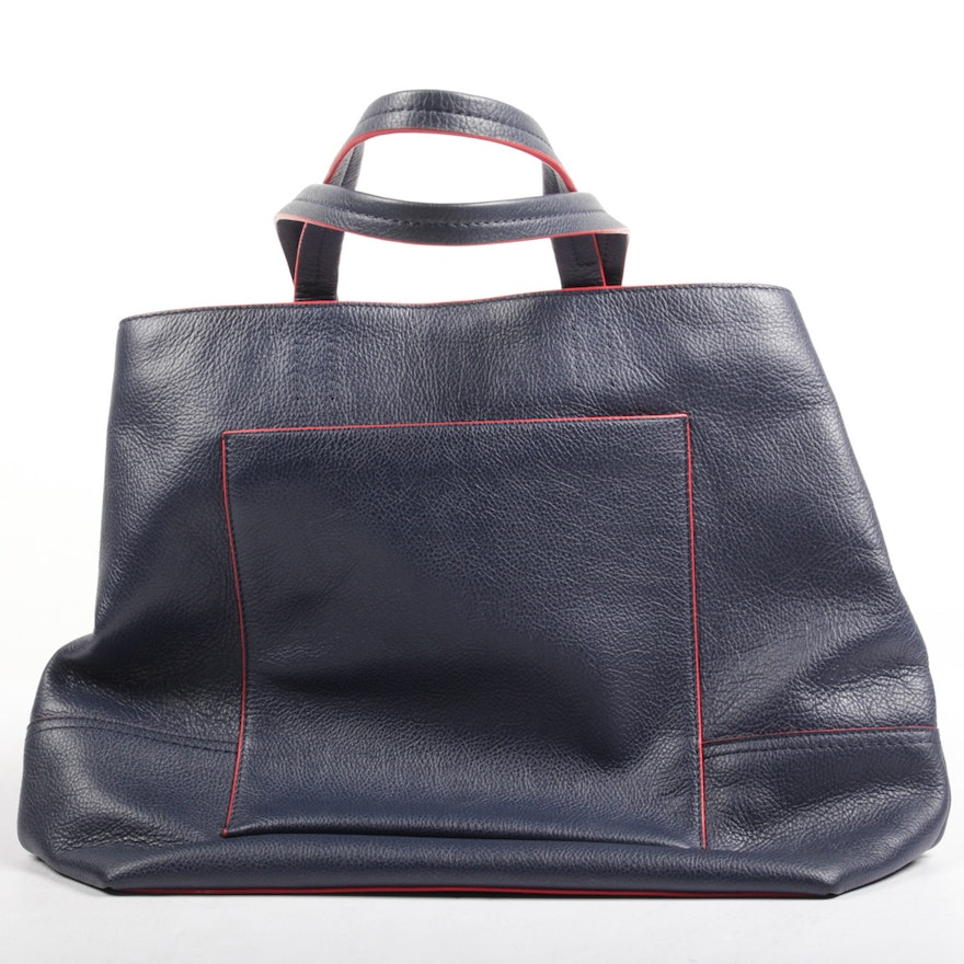 J. Crew Navy Leather Tote Trimmed in Red   EBTH 08e1685c57451