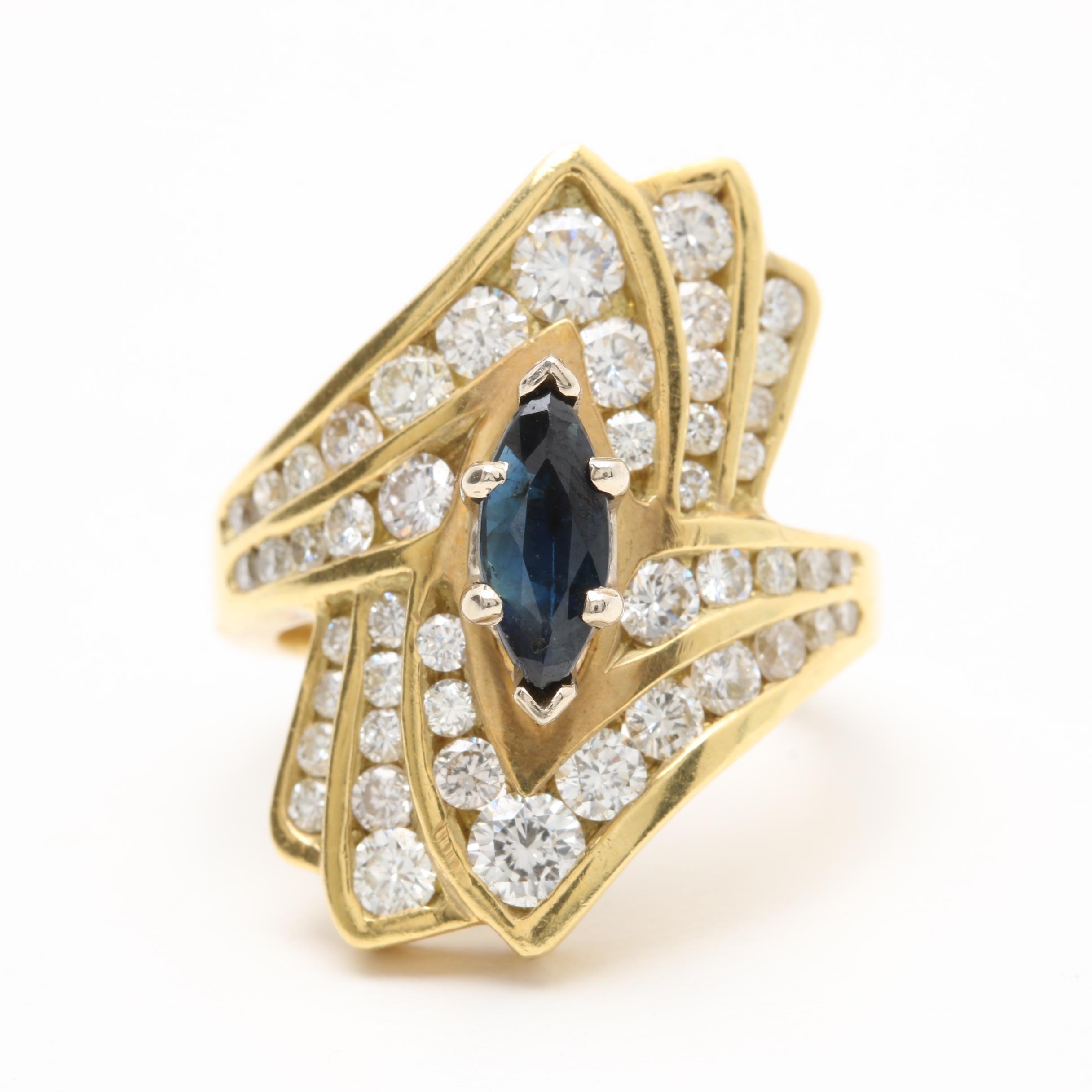 18K Yellow Gold Blue Sapphire and 2.28 CTW Diamond Ring