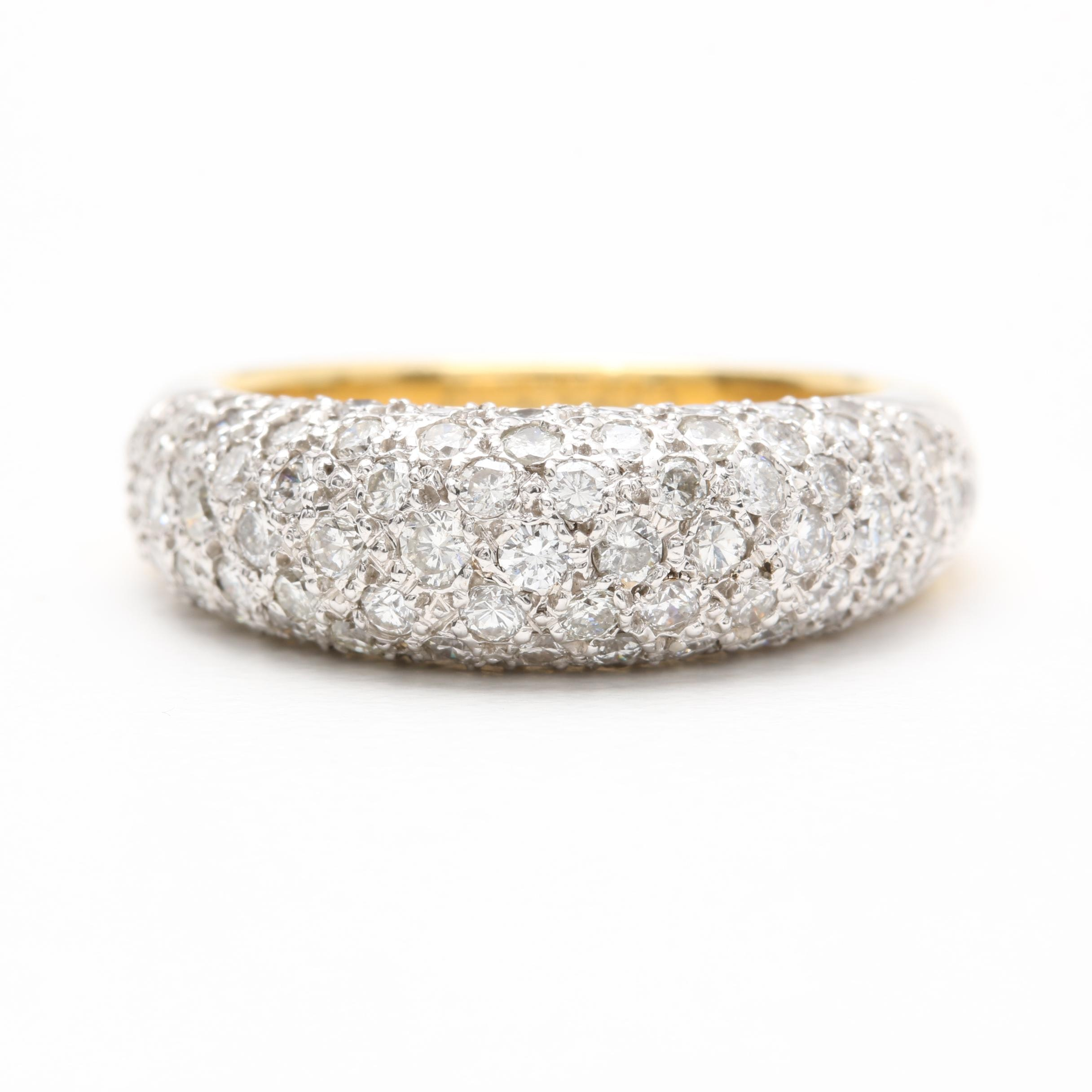 18K Yellow Gold 1.46 CTW Diamond Pavé Ring