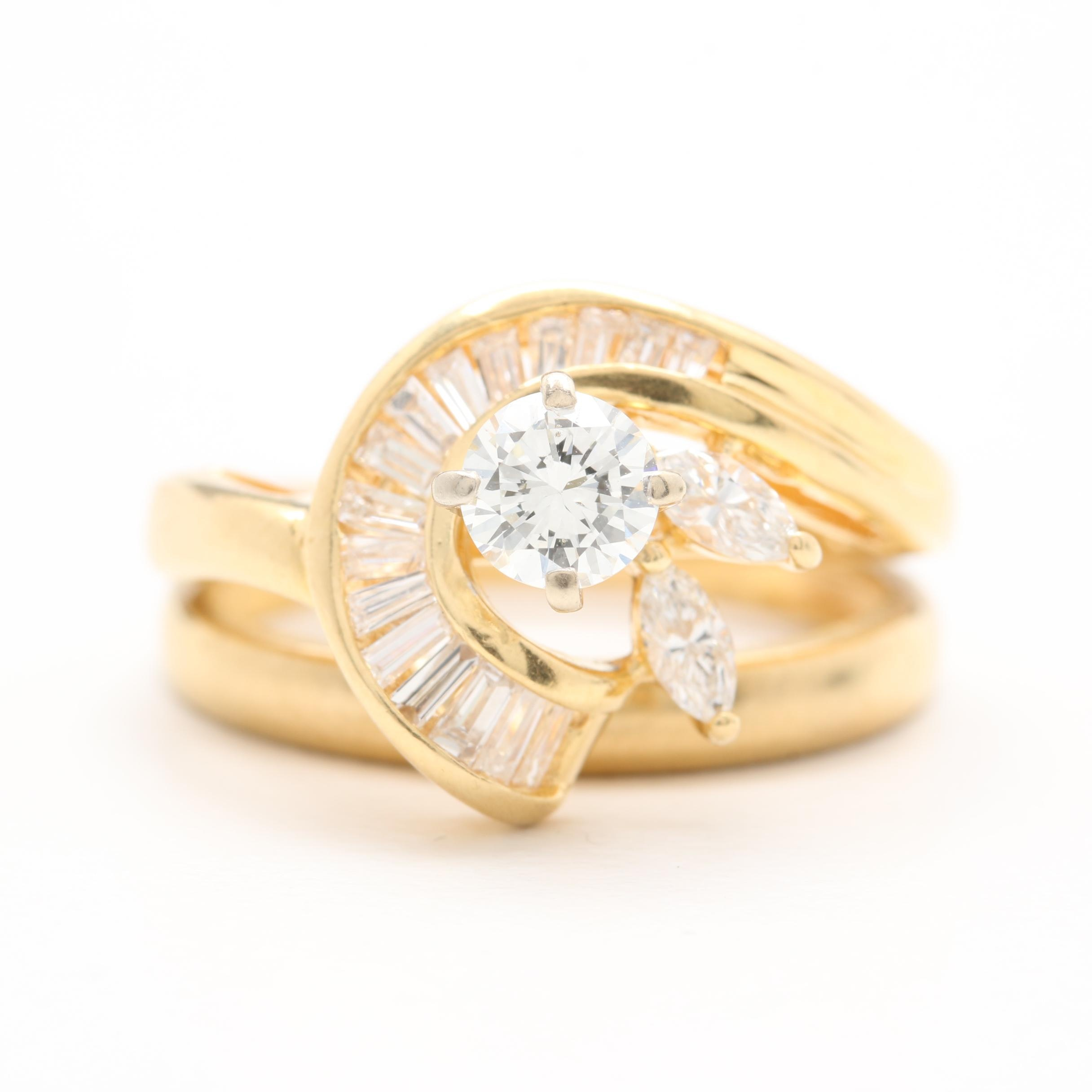 18K Yellow Gold Diamond Ring Set