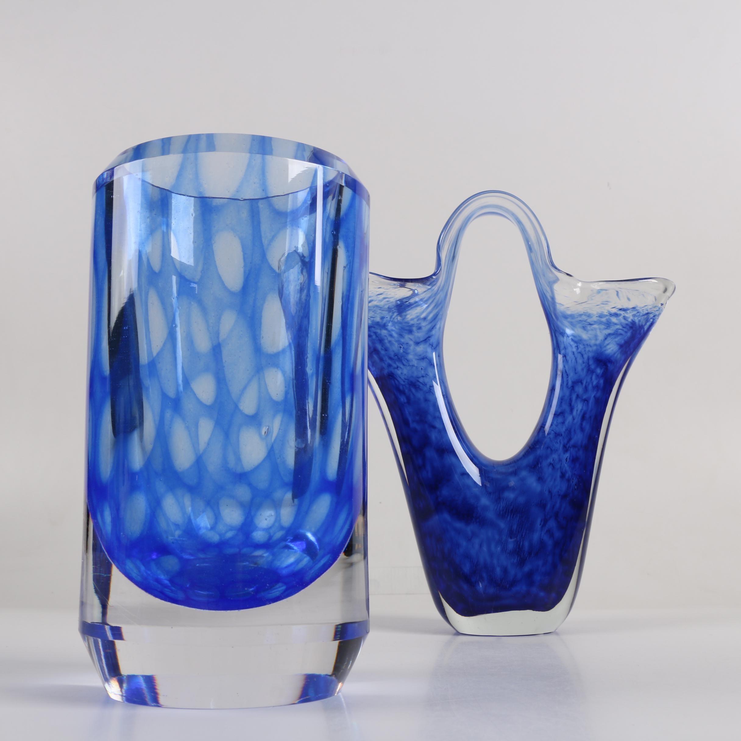 Blown Blue Glass Vases