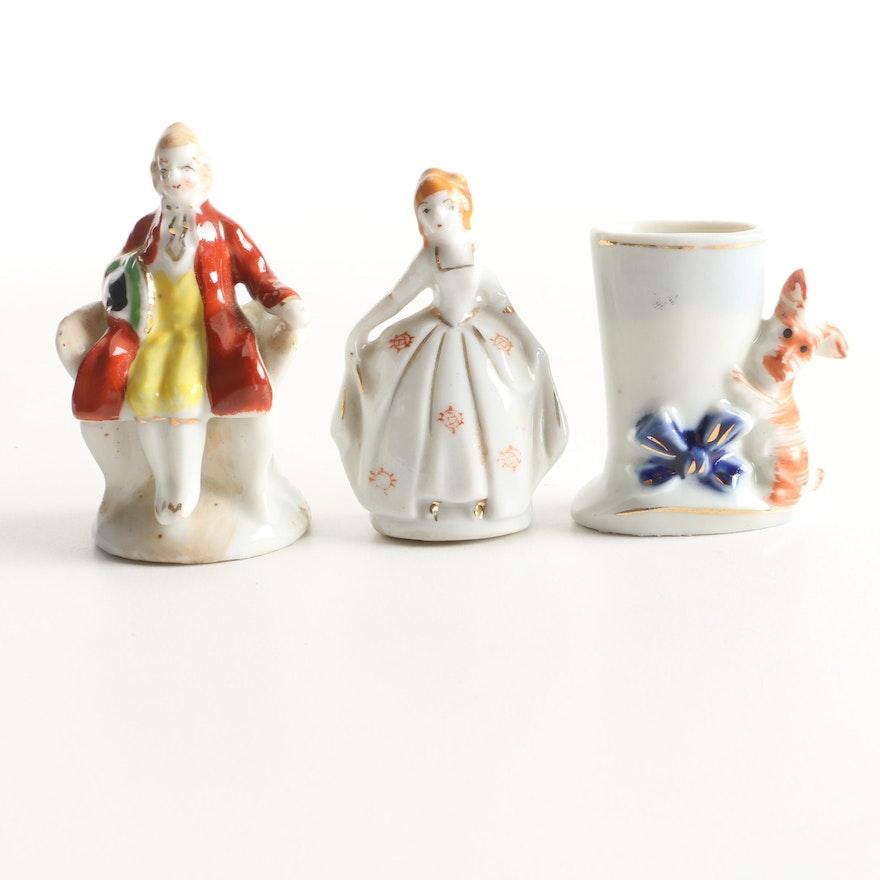 Miniature Ceramic Figurines And Vase Made In Occupied Japan Ebth
