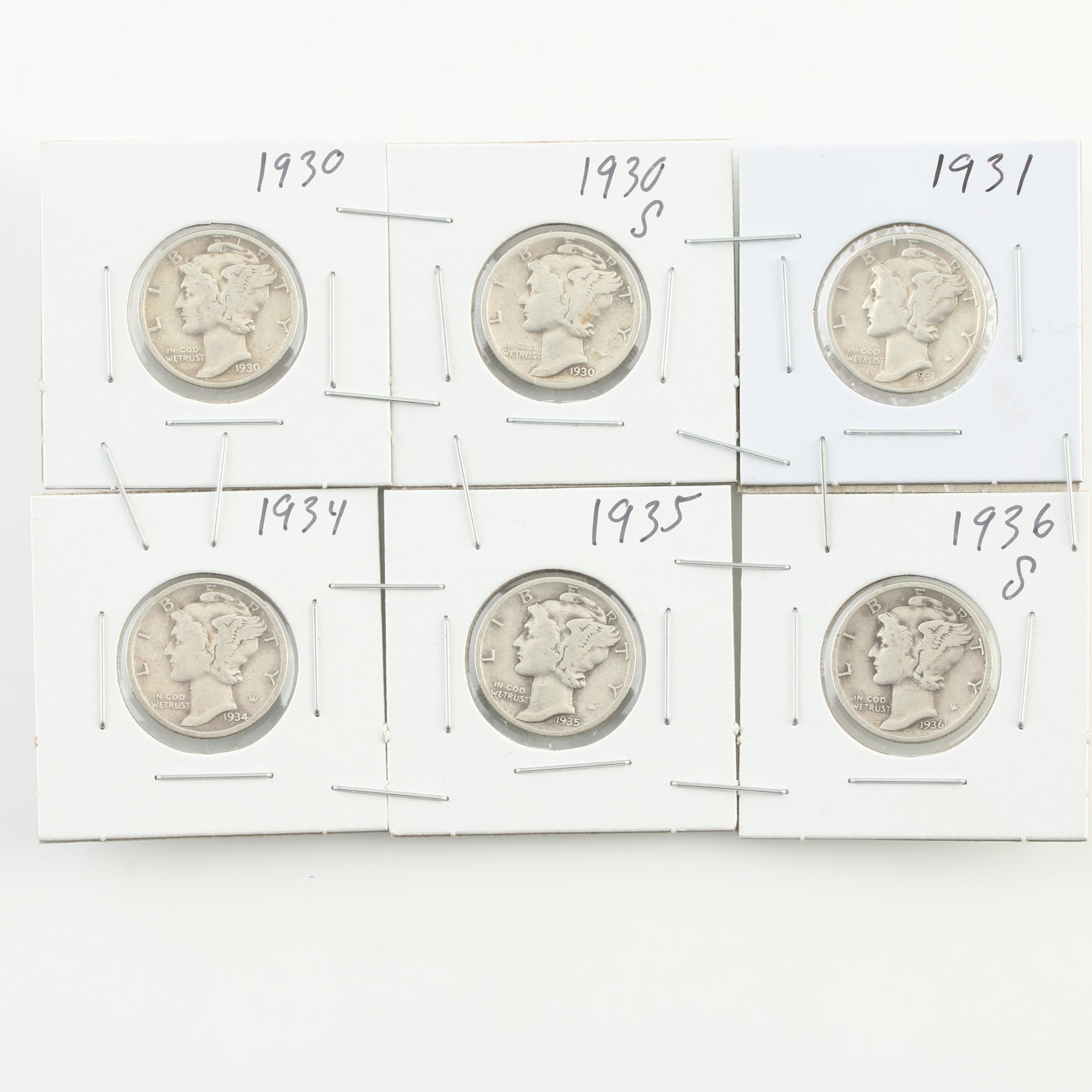 Group of Six Mercury Silver Dimes