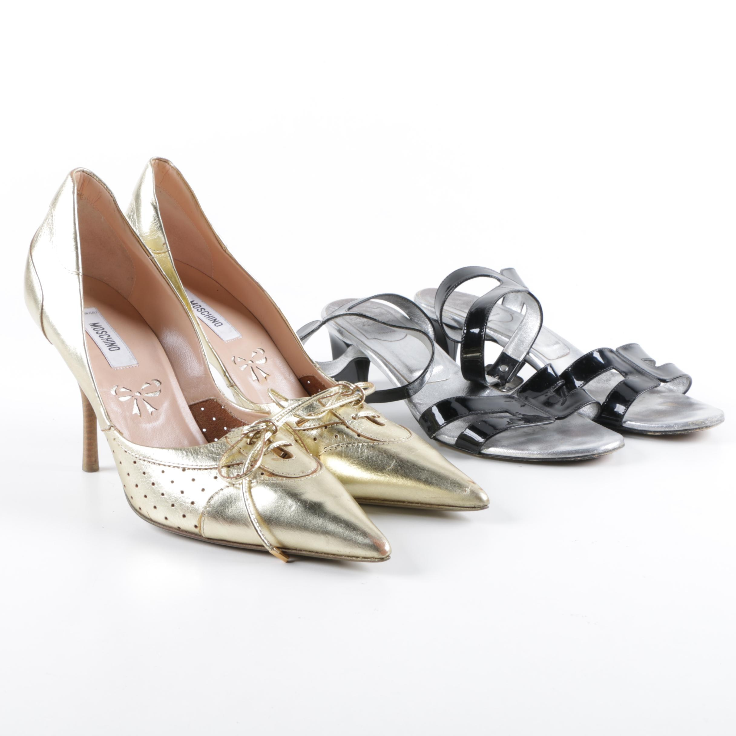 Moschino Metallic Gold d'Orsay Pumps and Roger Vivier Black Leather Sandals