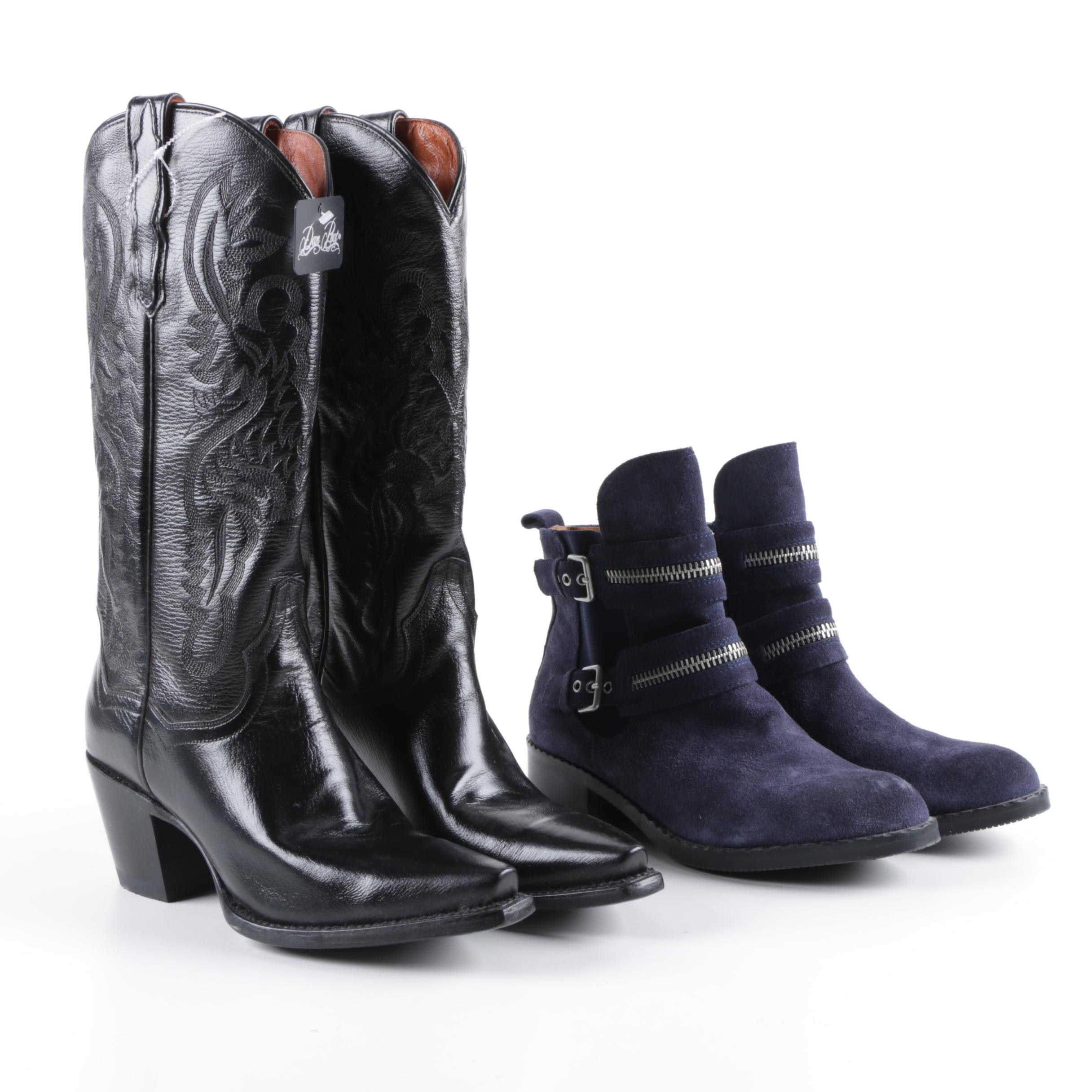 Women's Dan Post Leather Western Boots and Kenneth Cole Blue Suede Ankle Boots