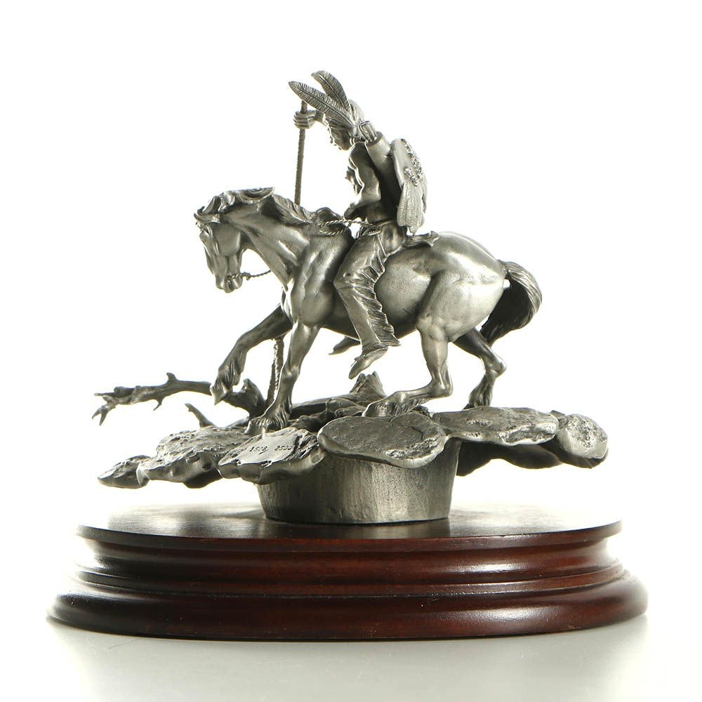 """Donald Polland Pewter Sculpture """"Enemy Tracks"""""""