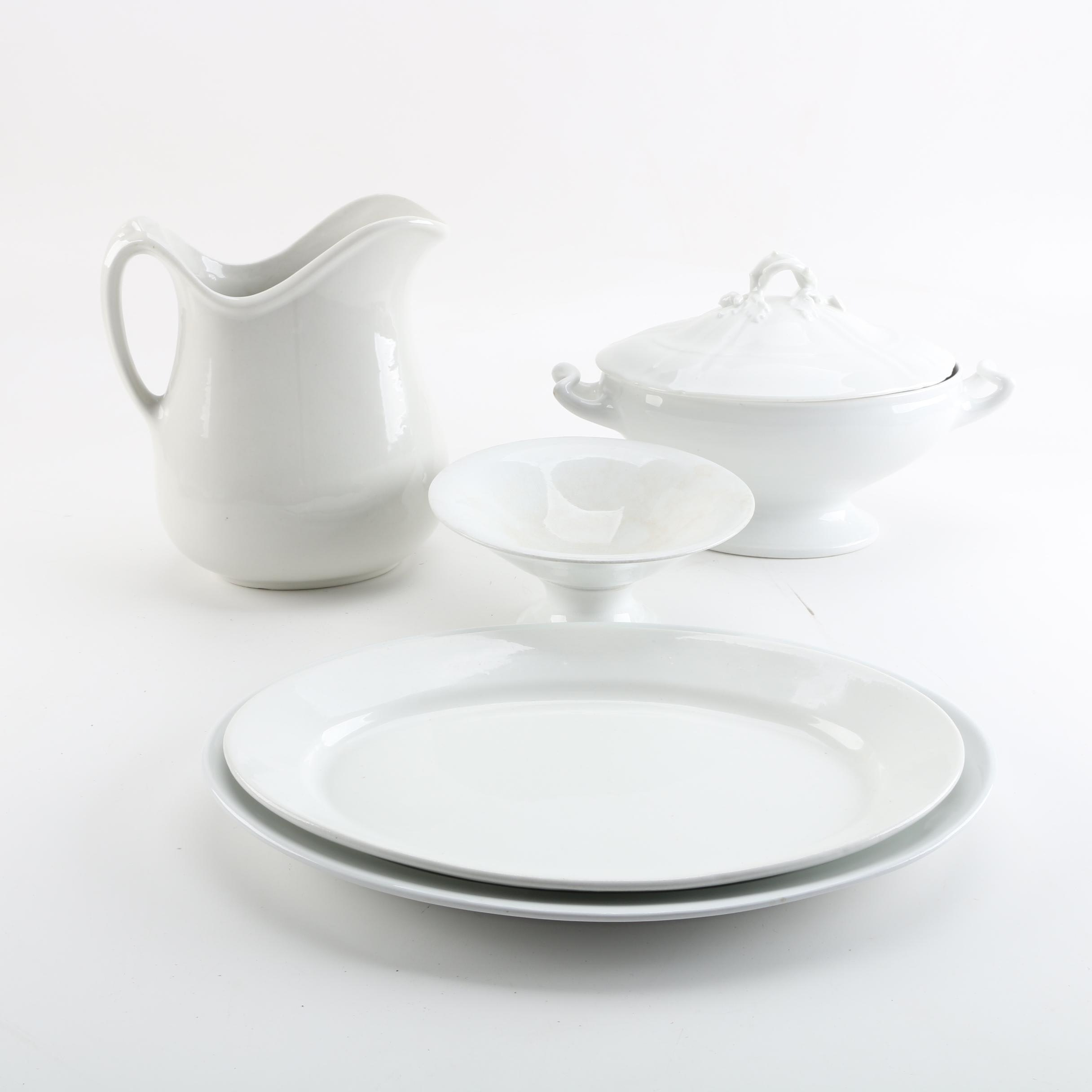 Antique and Vintage White Ironstone Tableware Including Meakin and George Scott ... & Antique and Vintage White Ironstone Tableware Including Meakin and George Scott