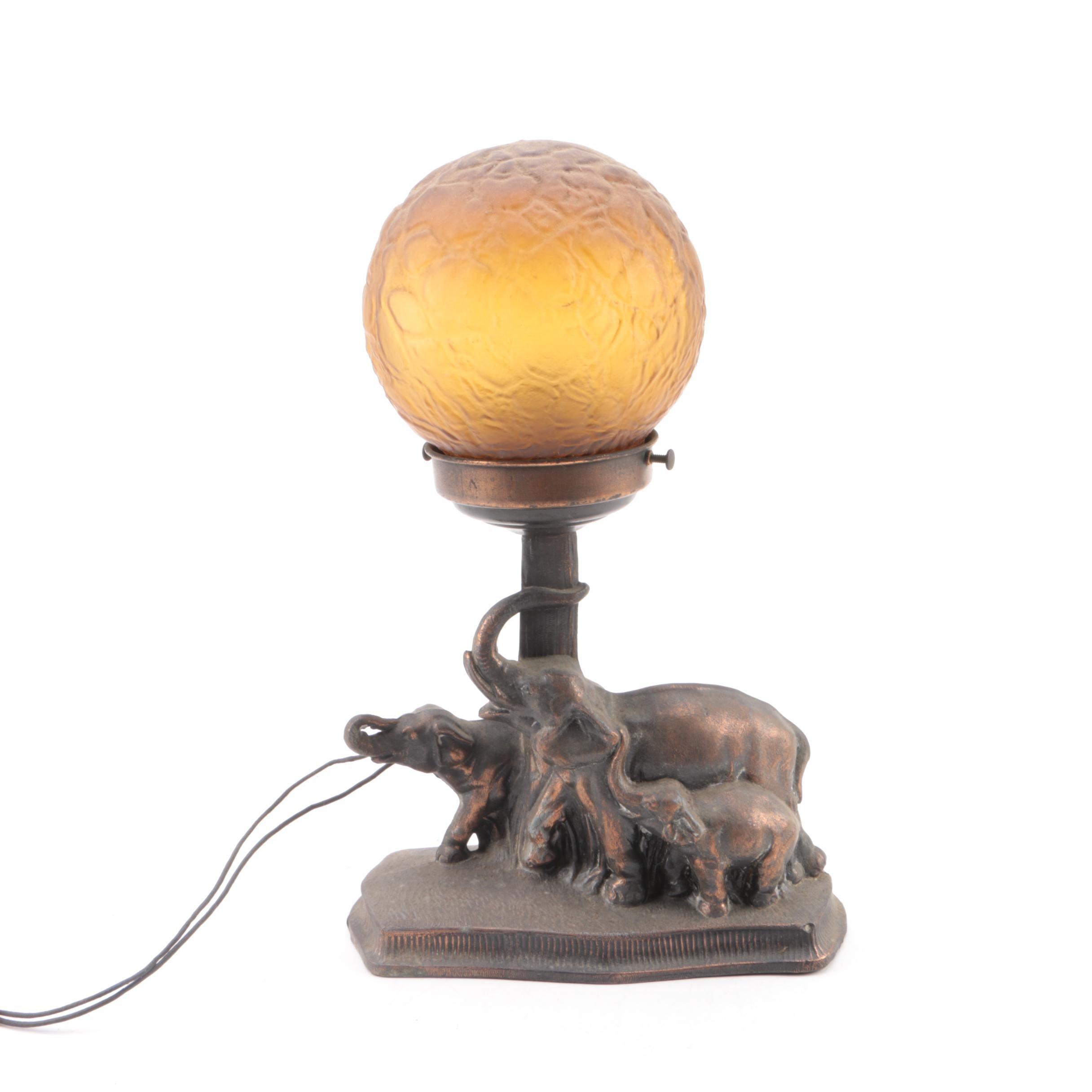 "Circa 1930 Cast Metal Elephant Lamp with Amber ""Brain"" Crackle Ball Globe"