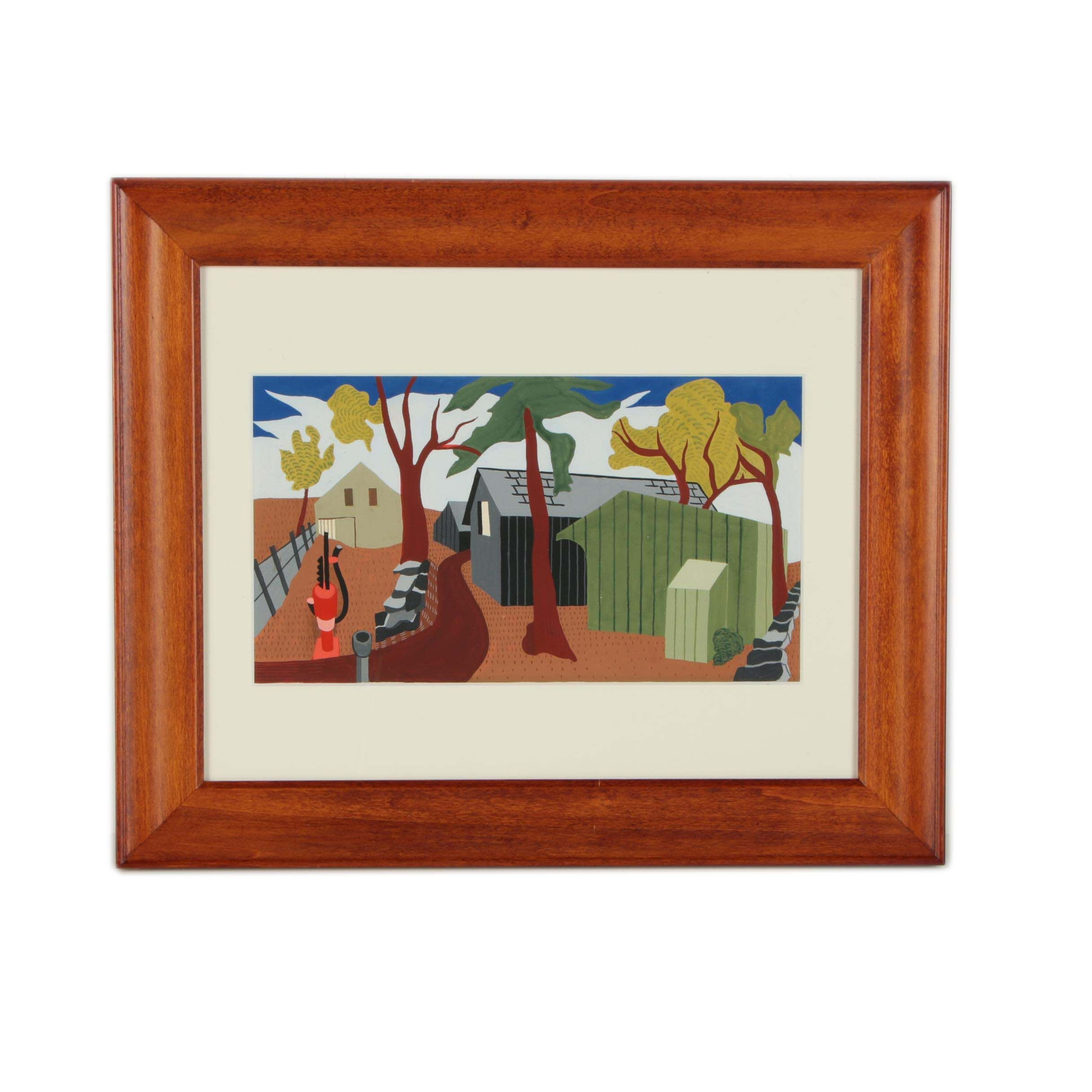 Gouache Painting Attributed to Pauline Blake Johnson
