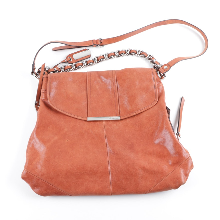 5bd639039317 B. Makowsky Brown Leather Shoulder Bag   EBTH