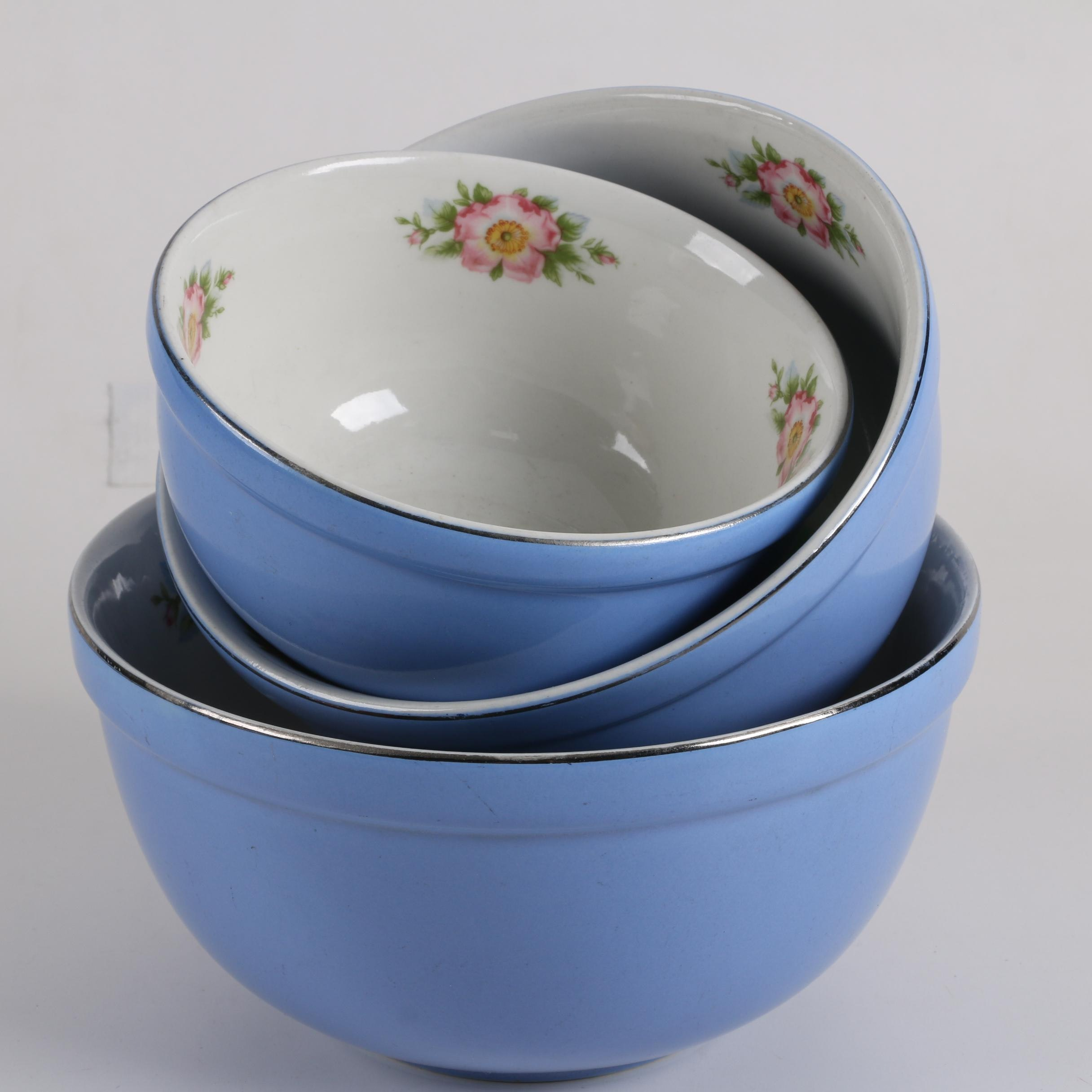 "Vintage Hall's ""Superior Kitchenware""Nesting Mixing Bowls Circa 1940's"