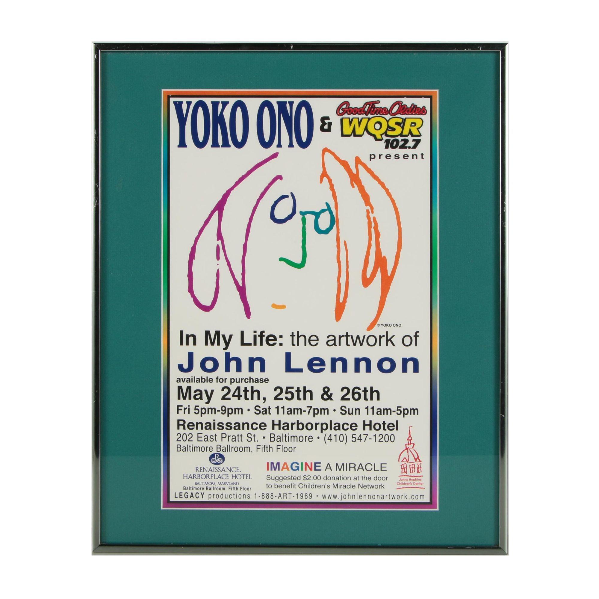 """Framed """"In My Life: The Artwork of John Lennon"""" Exhibition Poster"""