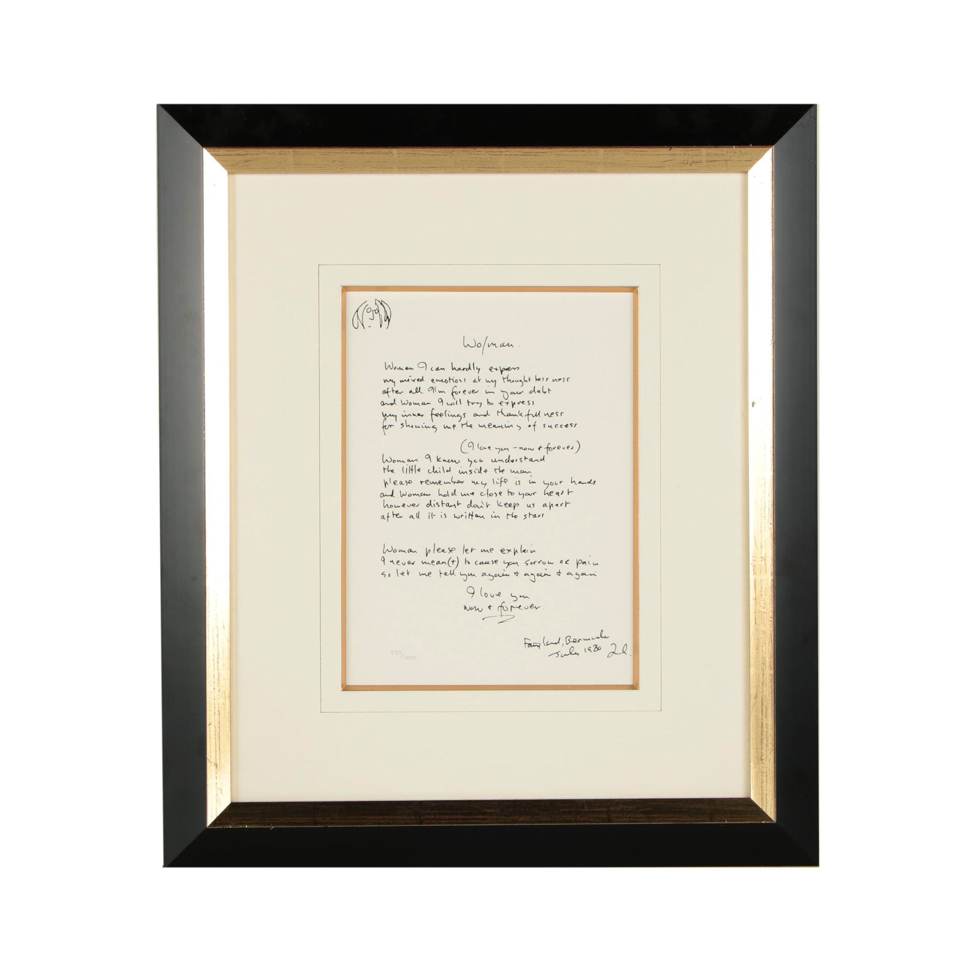 "John Lennon ""Wo/man"" Limited Edition Reproduction Lyric Sheet"