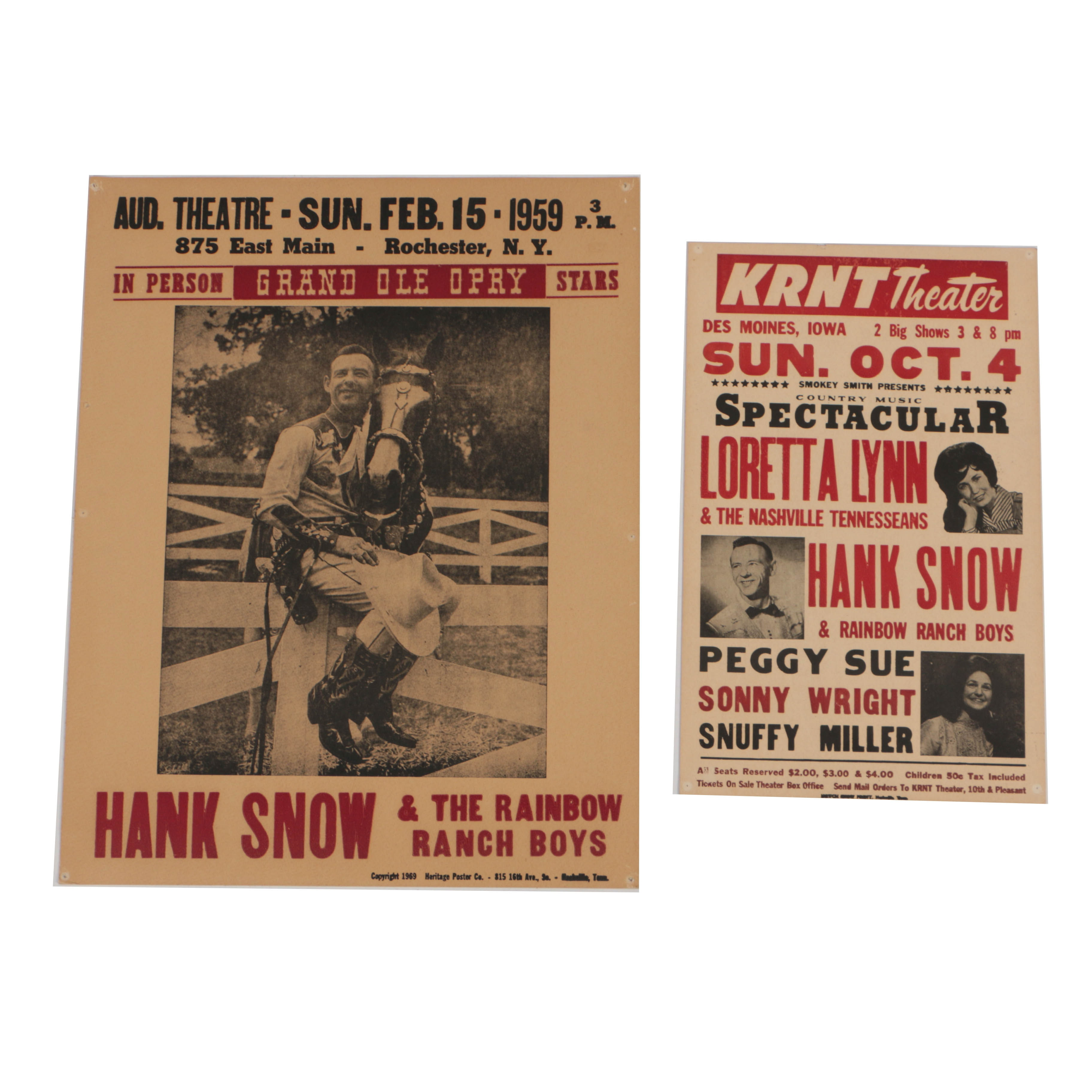 Hank Snow and Loretta Lyn Vintage Reproduction Concert Posters