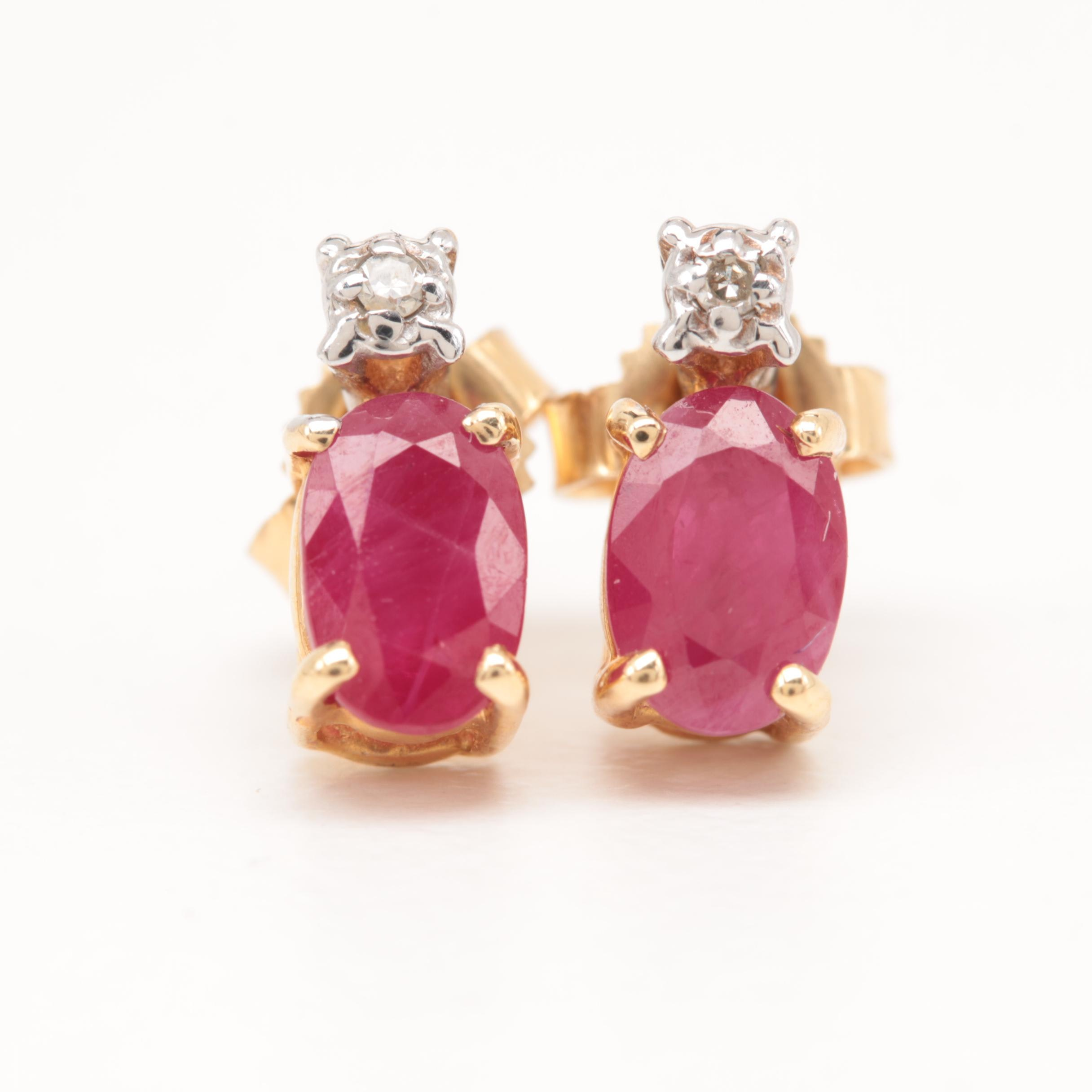 14K Yellow Gold Ruby and Diamond Earrings with 14K White Gold Accents