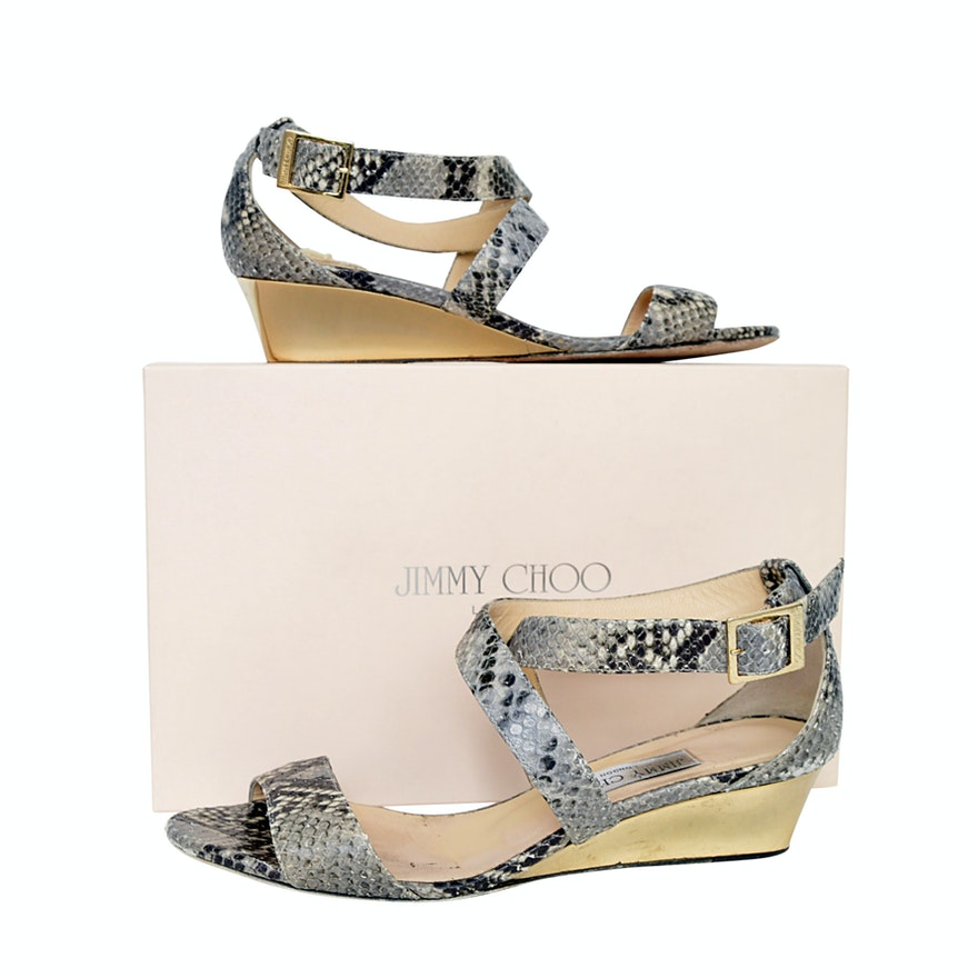e54bf40301aa Jimmy Choo Python-Printed Leather Wedge Sandals   EBTH