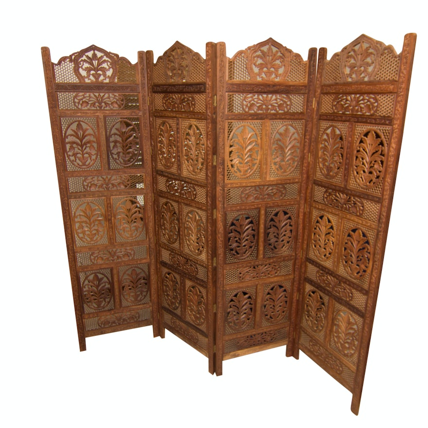 b8043f7dc588c Indian Hand-Carved Wood Screen Room Divider   EBTH