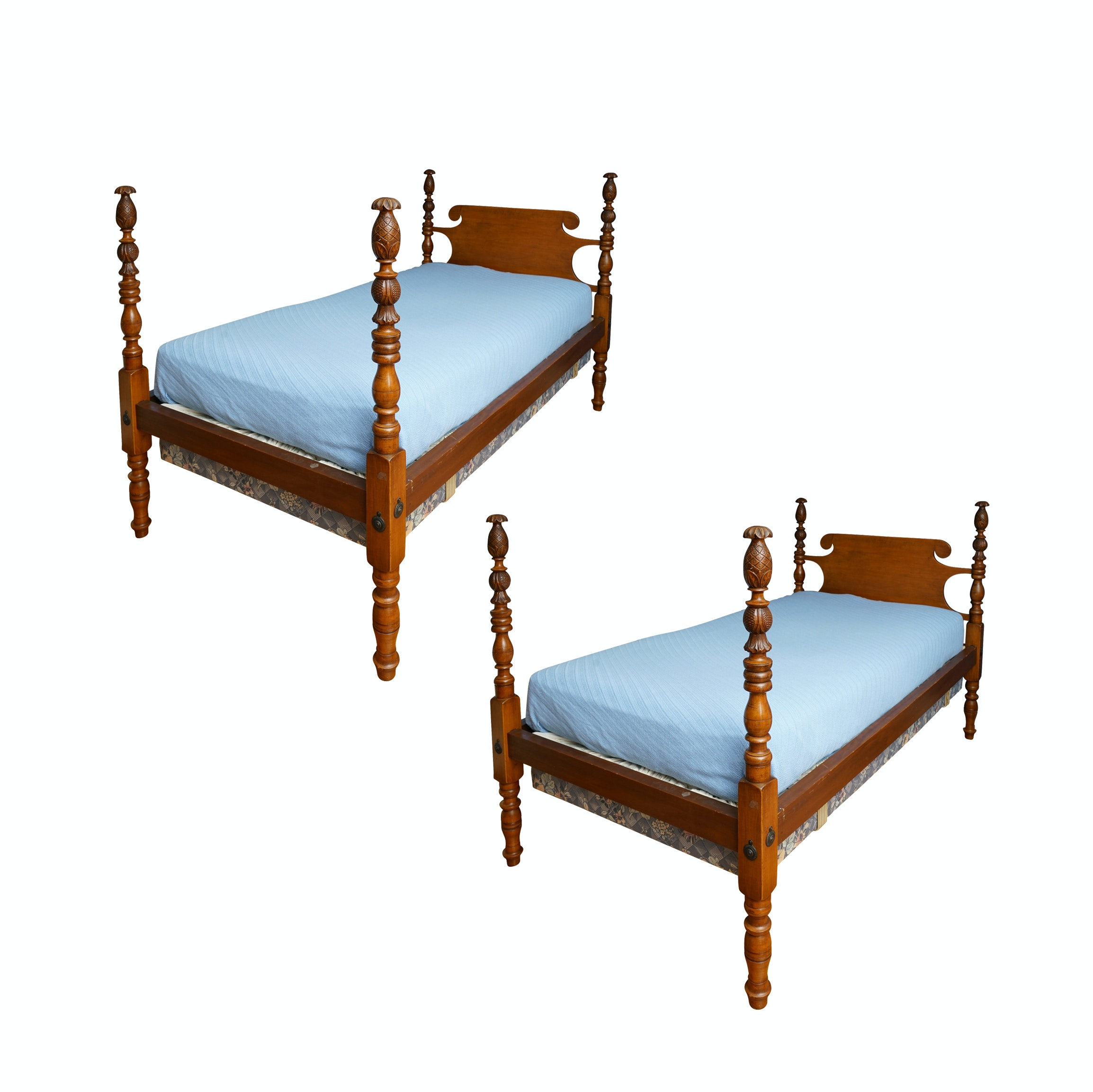 Pineapple Finial Four Poster Twin Bed Frame Pair