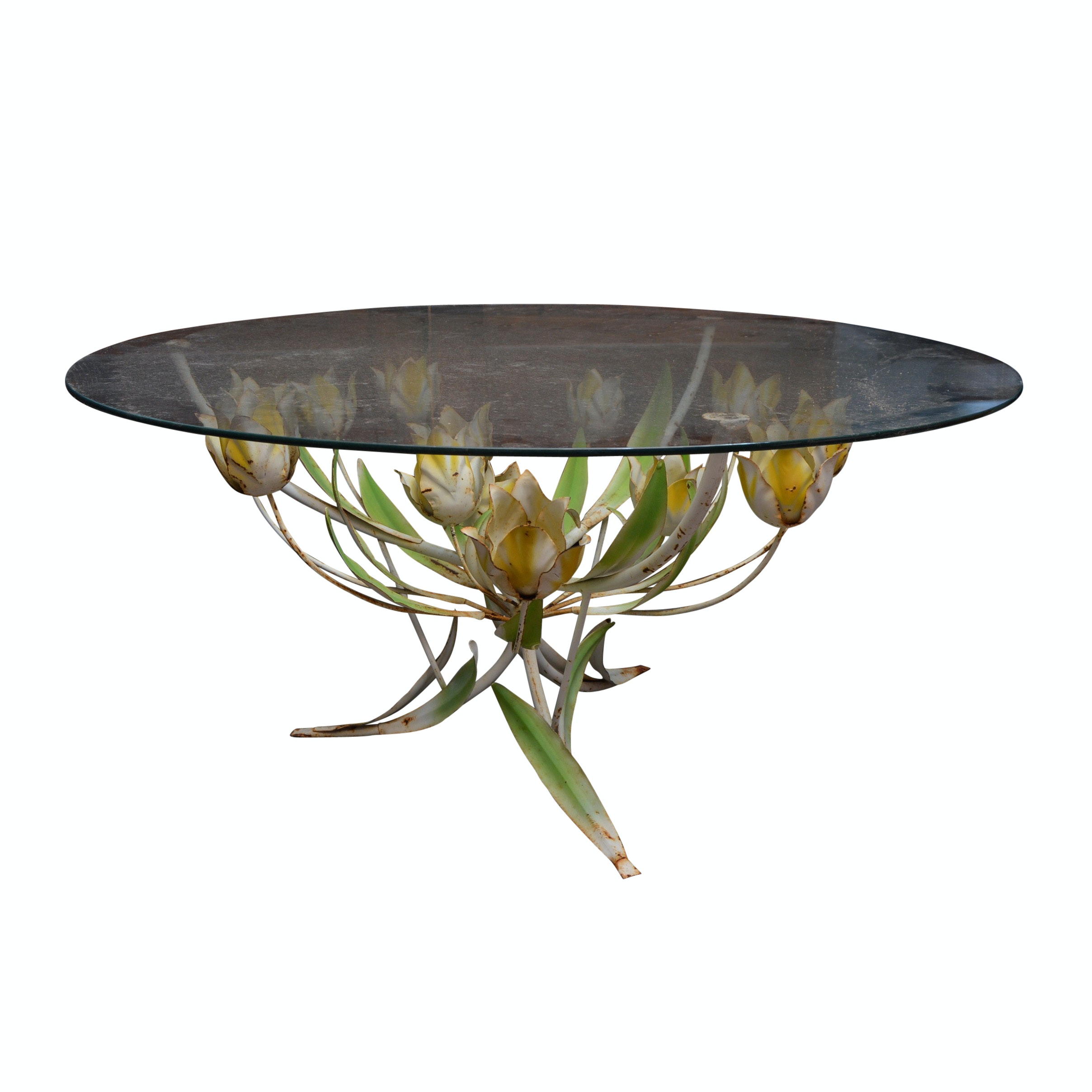Hollywood Regency Cocktail Table with Painted Flower Base