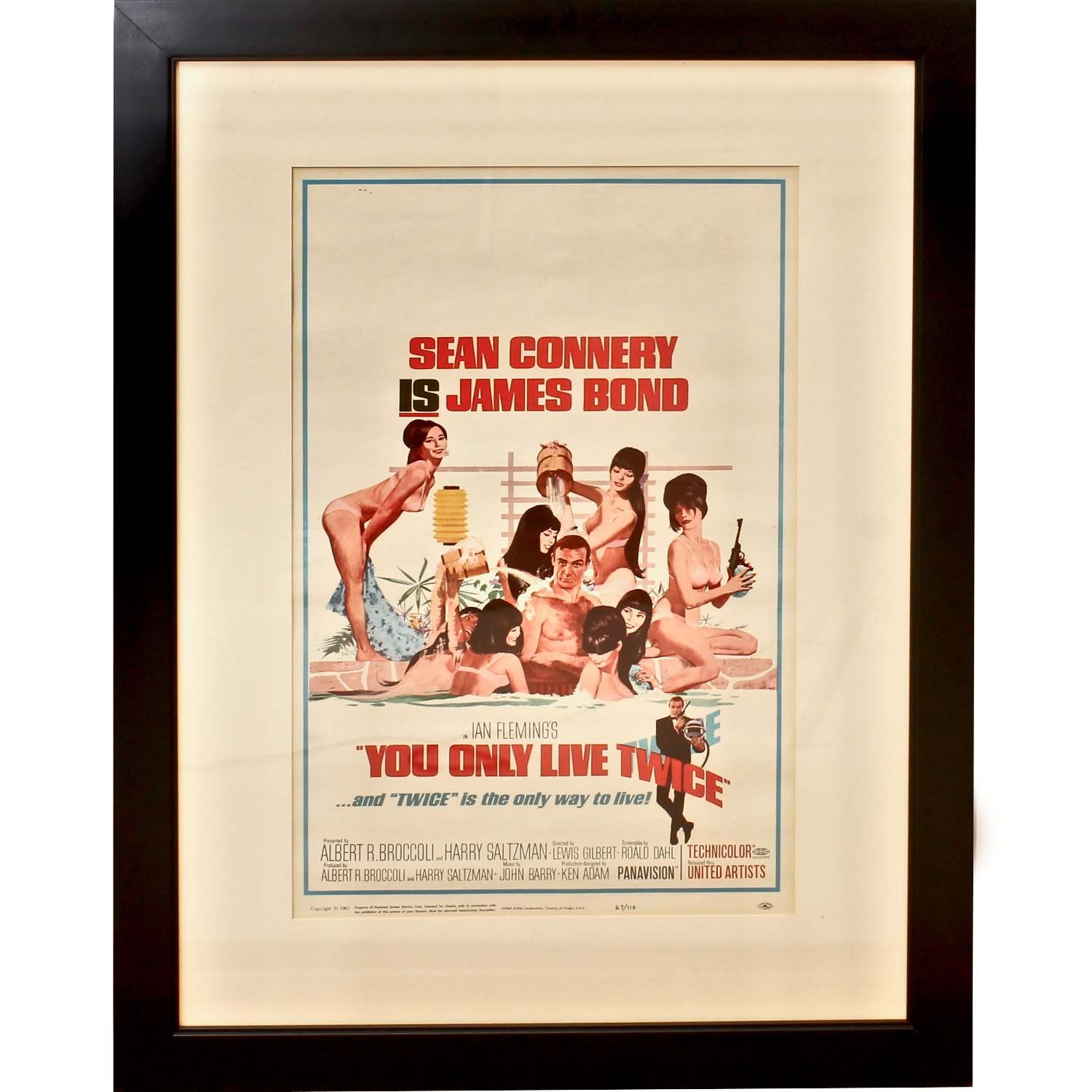 """1967 Limited Edition """"You Only Live Twice"""" James Bond Movie Print"""