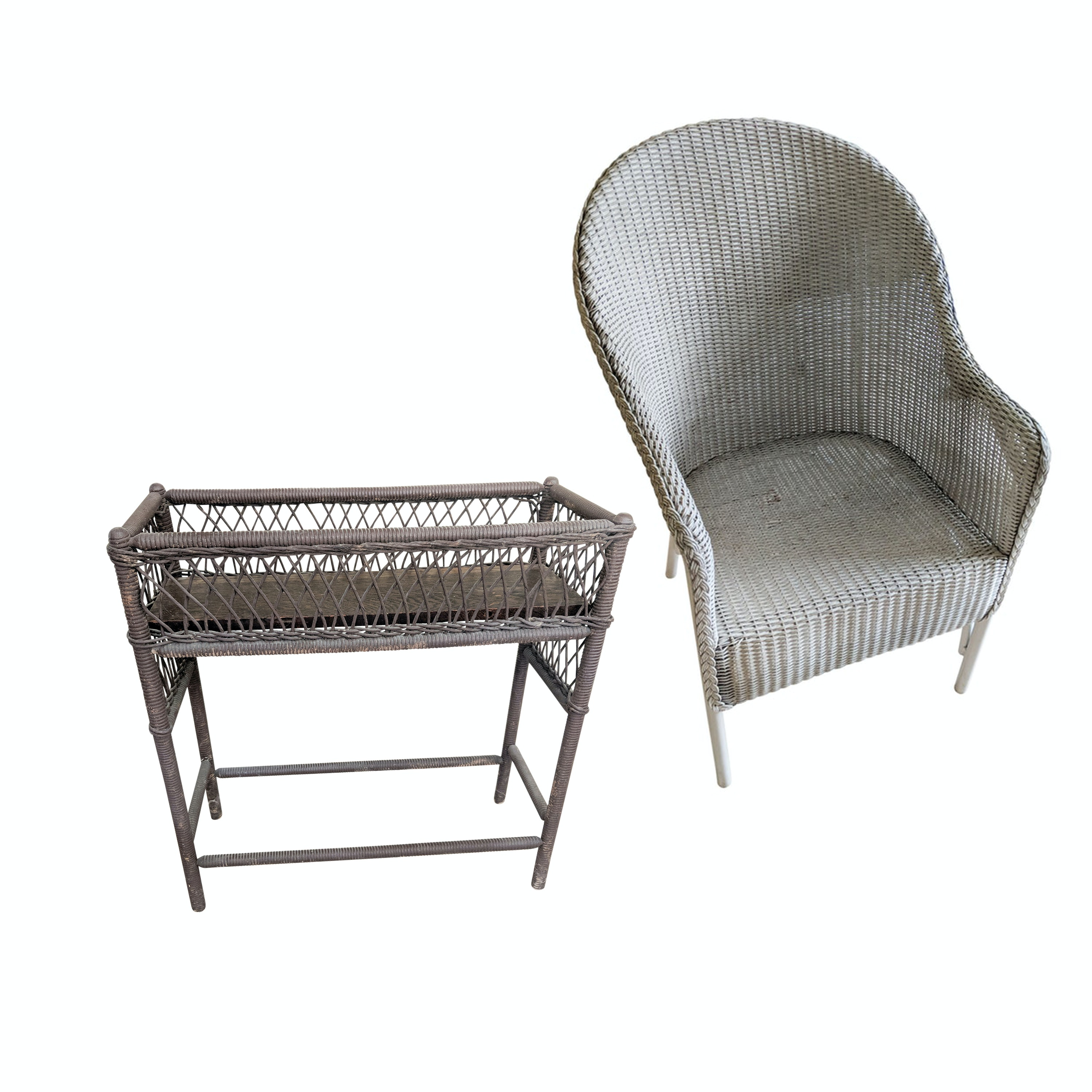 Mid Century Modern Lloyd Loom Wicker Patio Chair And Vintage Plant Stand ...