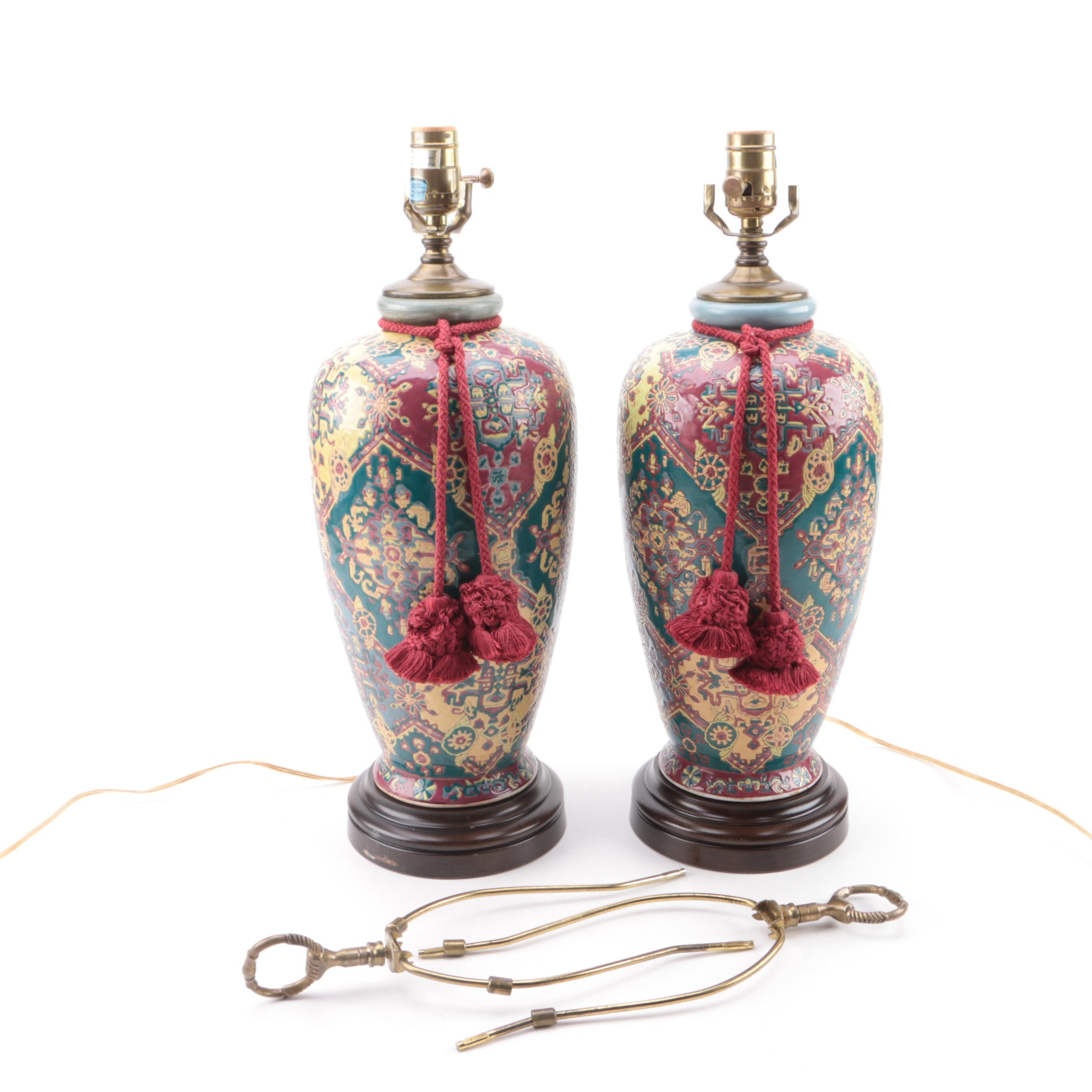 Painted Ceramic Urn Style Table Lamps